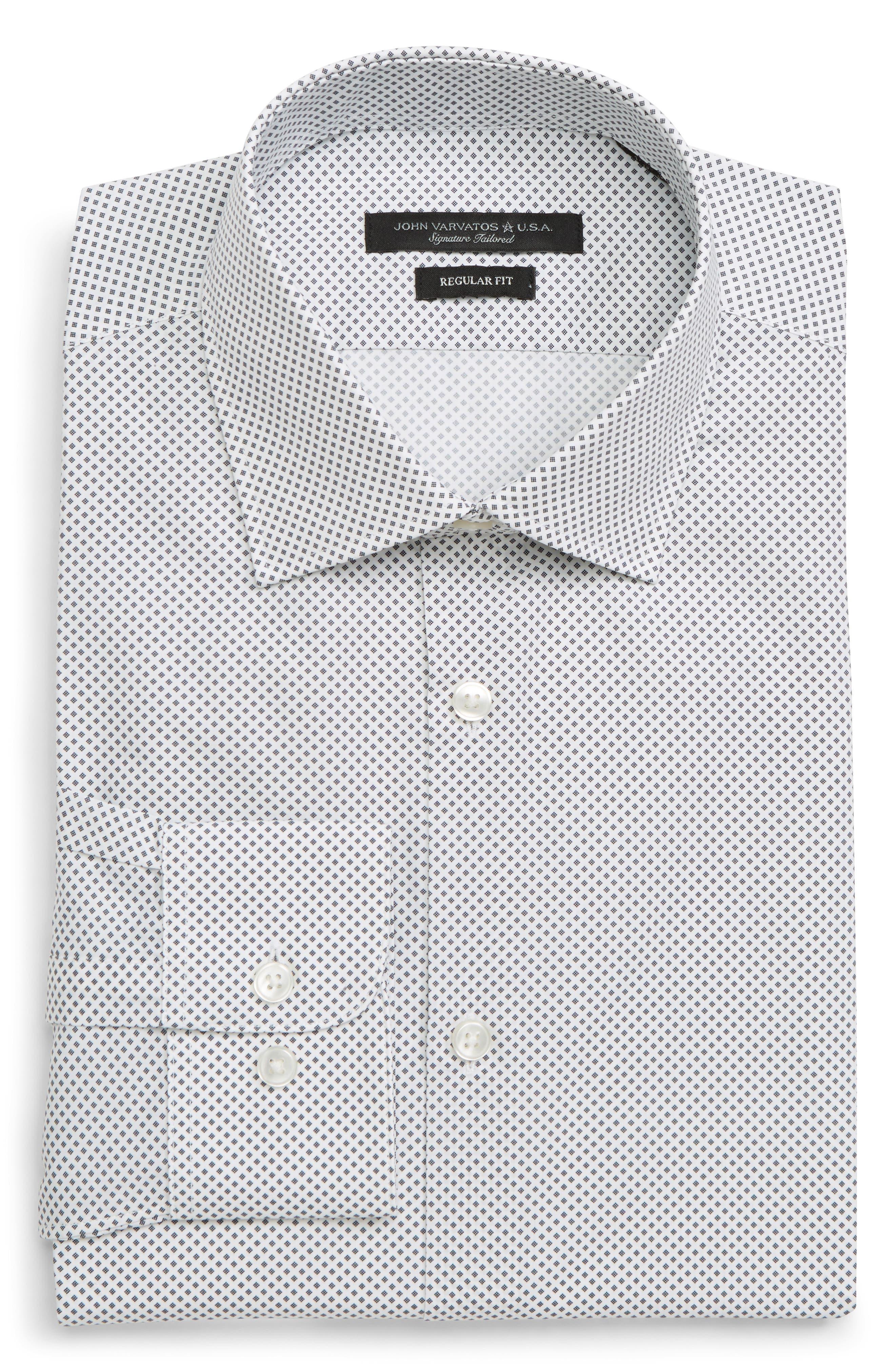 Regular Fit Geometric Dress Shirt,                             Alternate thumbnail 5, color,                             THUNDER GREY