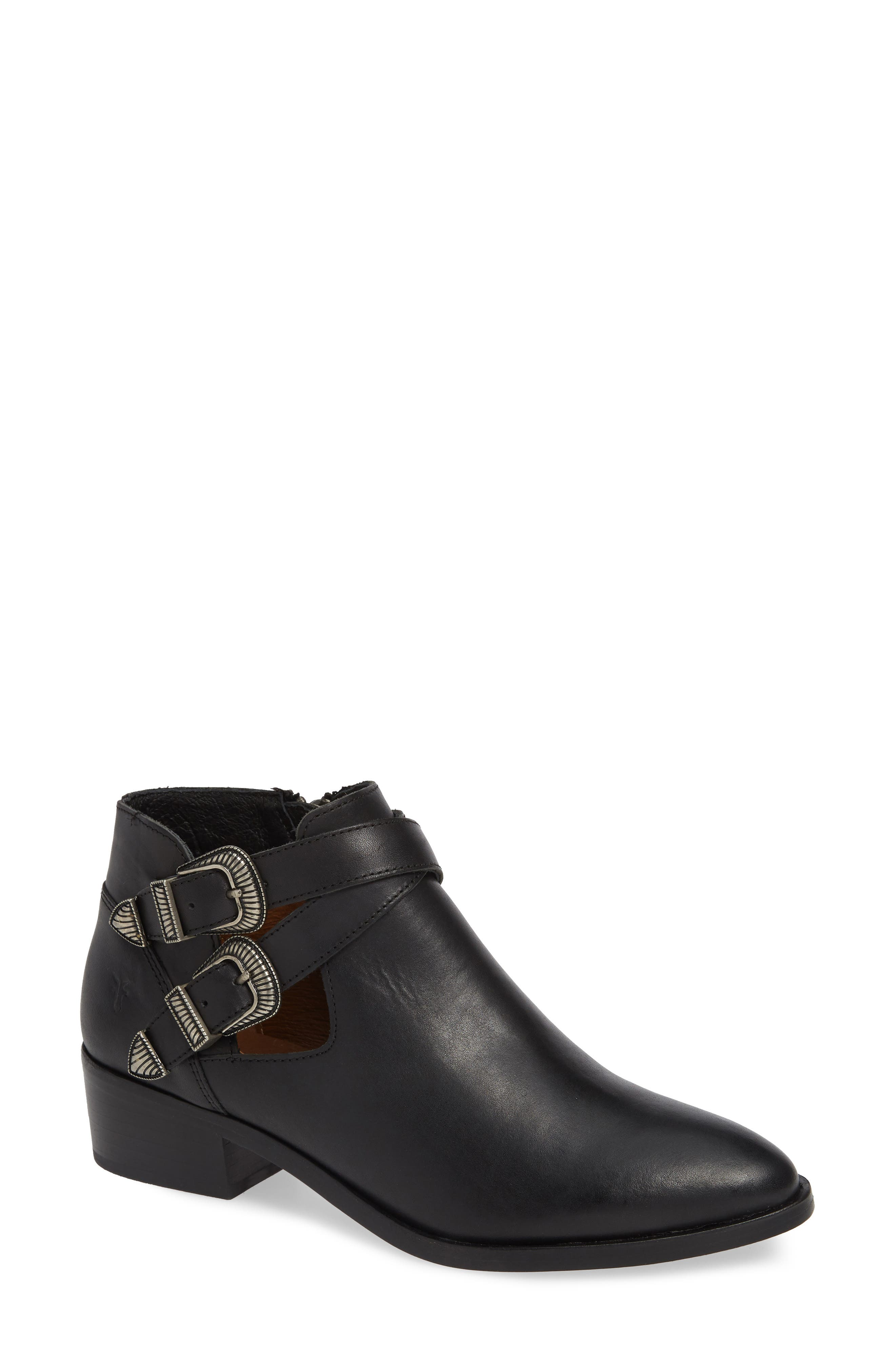 Ray Western Bootie,                         Main,                         color, BLACK LEATHER