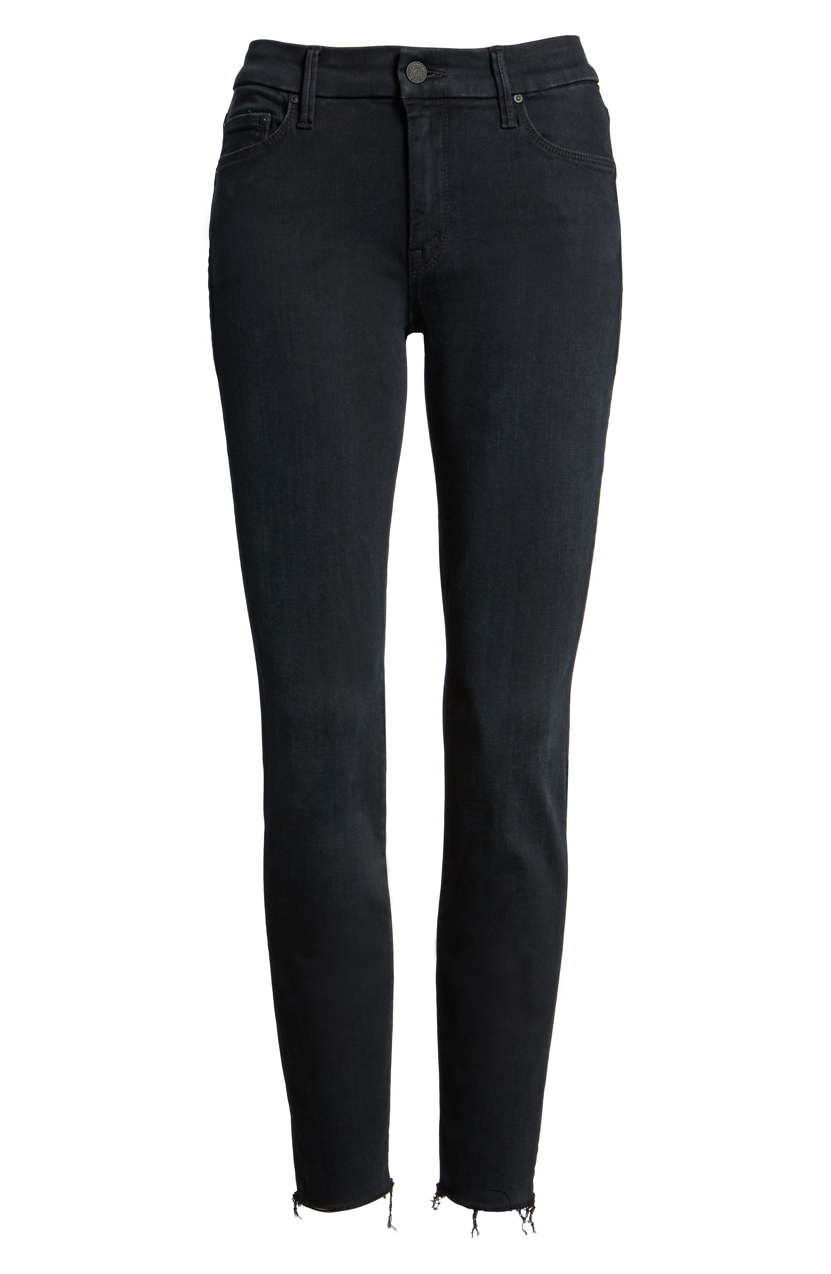 Frayed Ankle Skinny Jeans,                             Main thumbnail 1, color,                             001