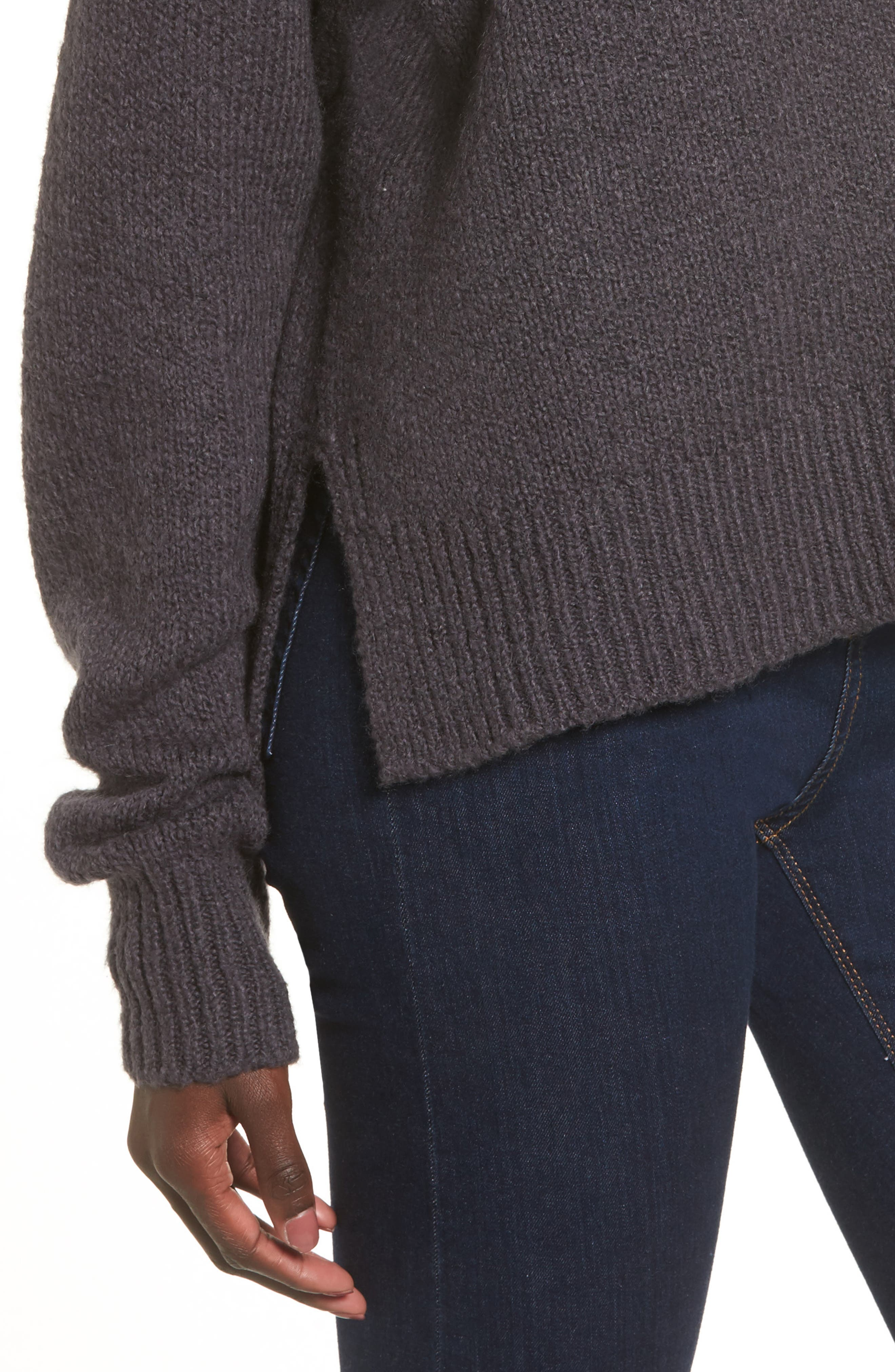 Fuzzy Side Slit Sweater,                             Alternate thumbnail 10, color,