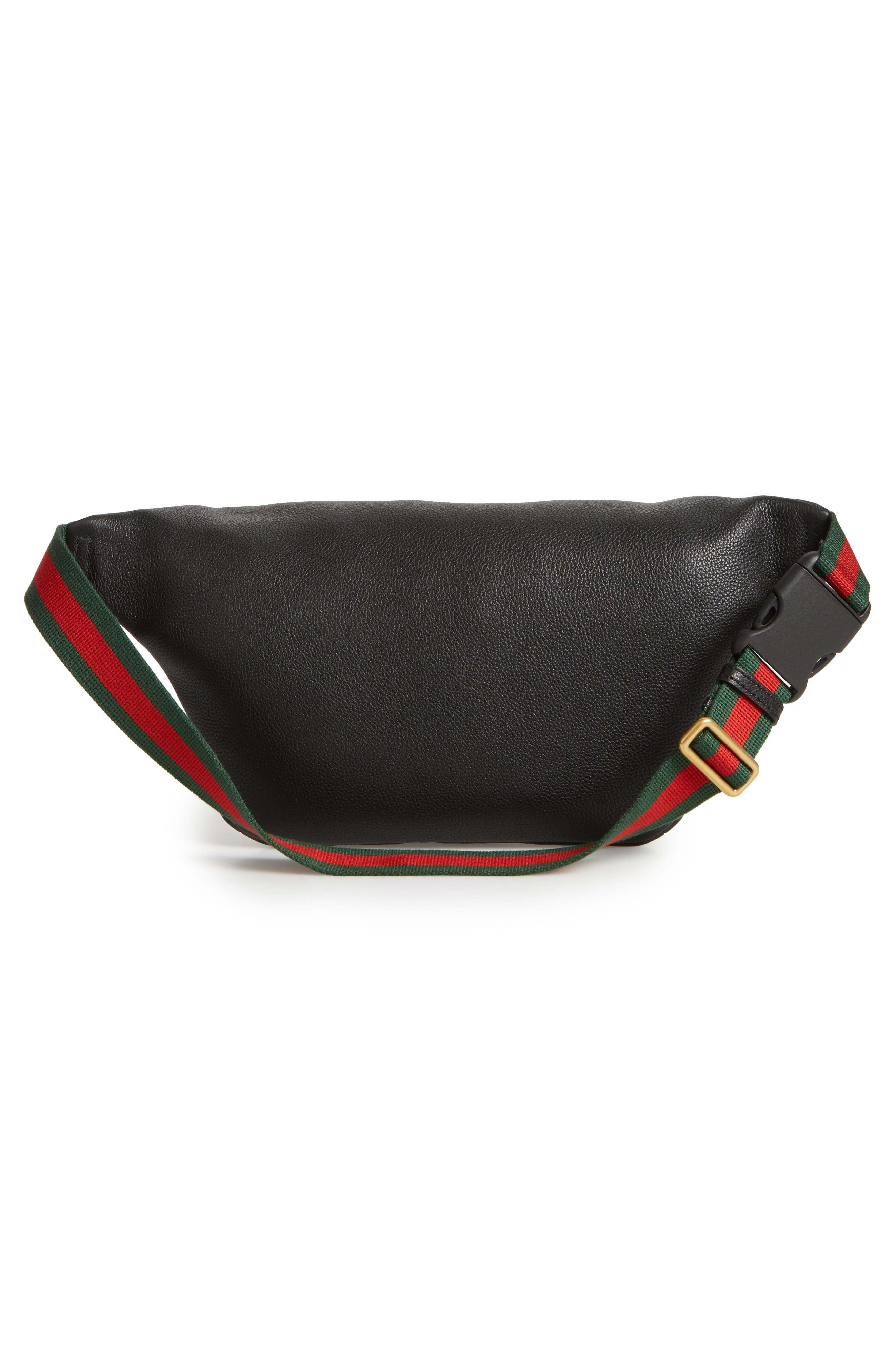Logo Leather Waist Pack,                             Alternate thumbnail 3, color,                             BLACK