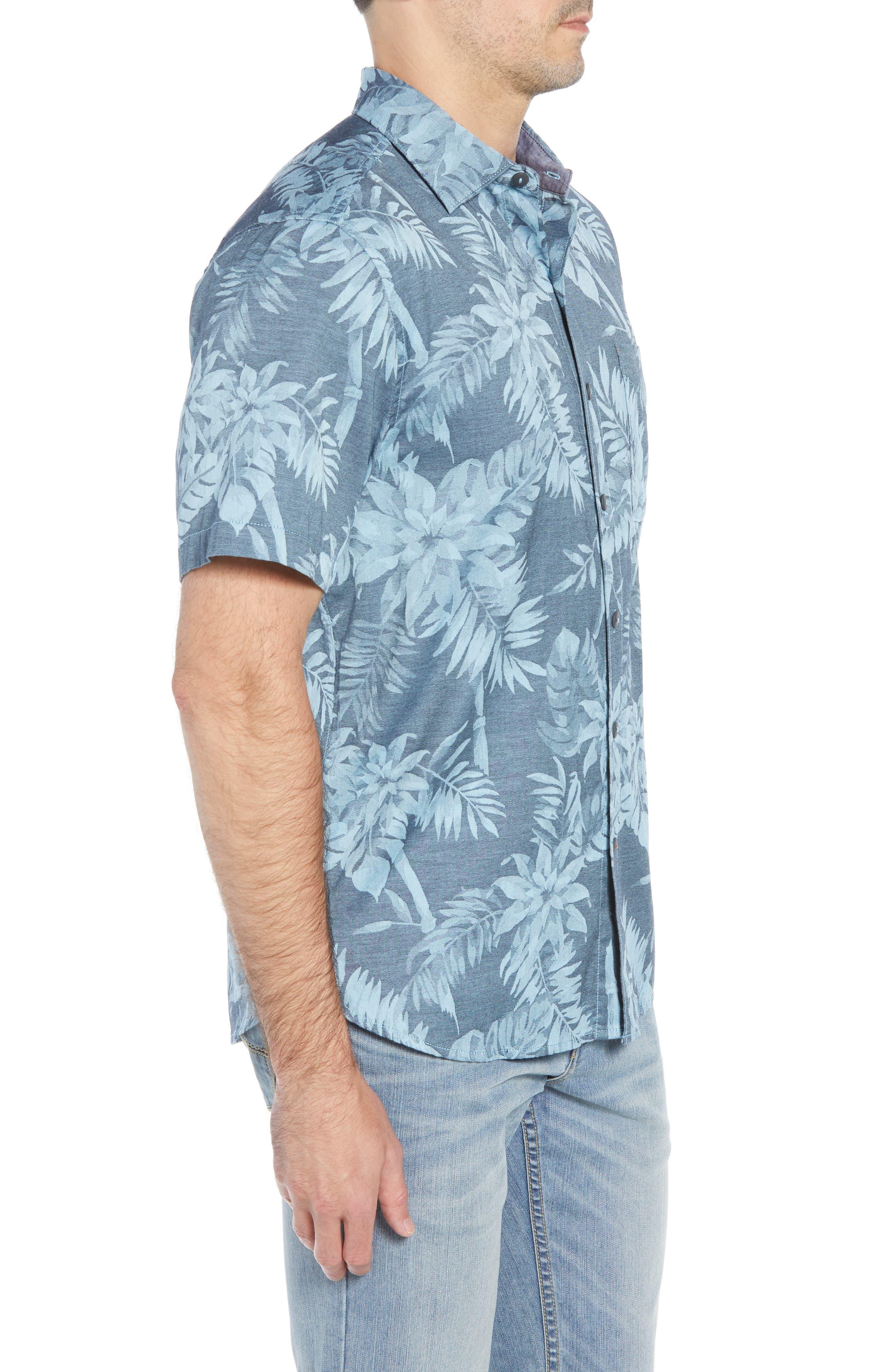 Tropical Tones Regular Fit Sport Shirt,                             Alternate thumbnail 4, color,                             OCEAN DEEP