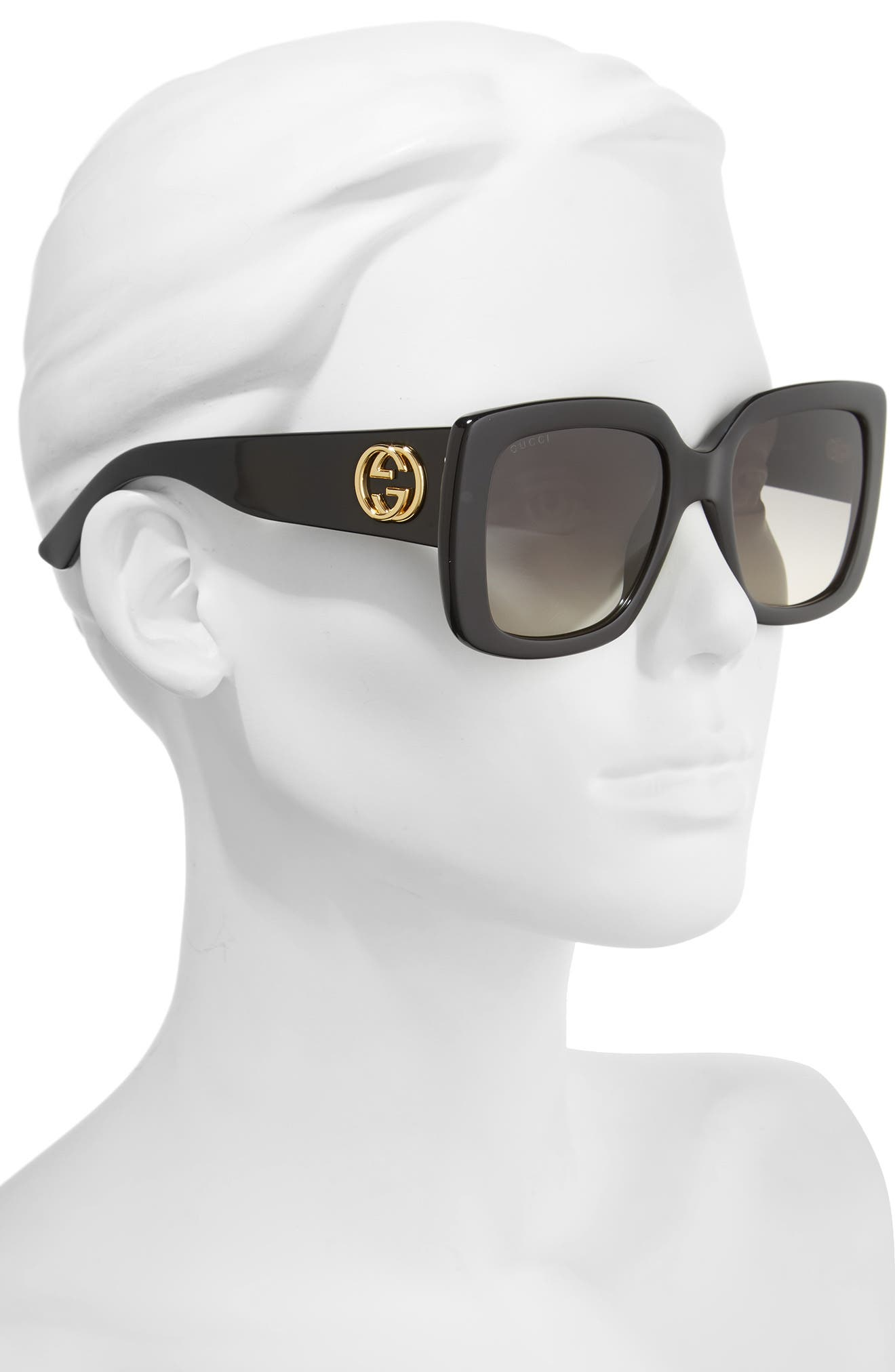 53mm Square Sunglasses,                             Alternate thumbnail 2, color,                             BLACK/ GREY