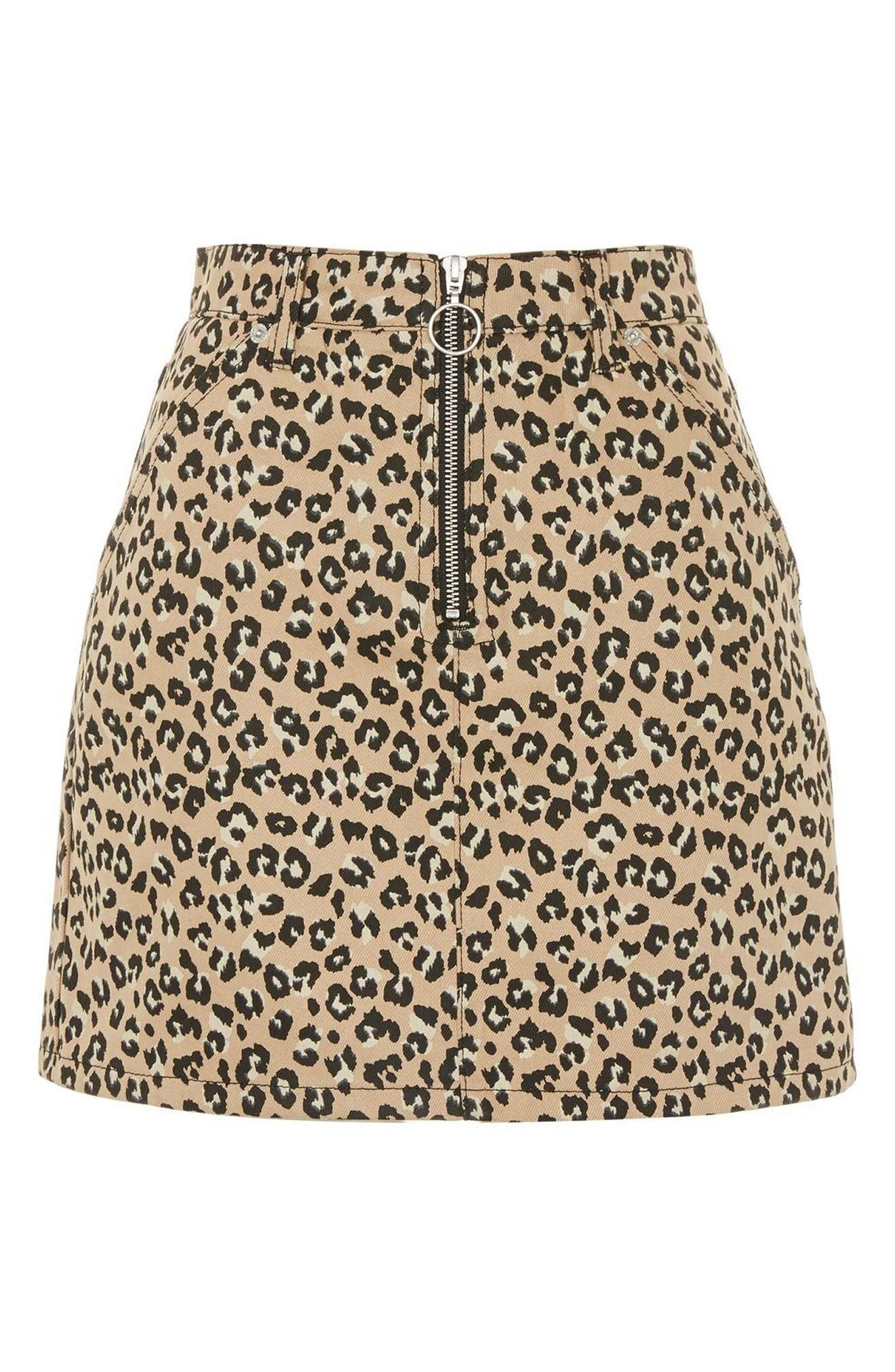 Half Zip Leopard Print Denim Skirt,                             Alternate thumbnail 3, color,                             TAN MULTI
