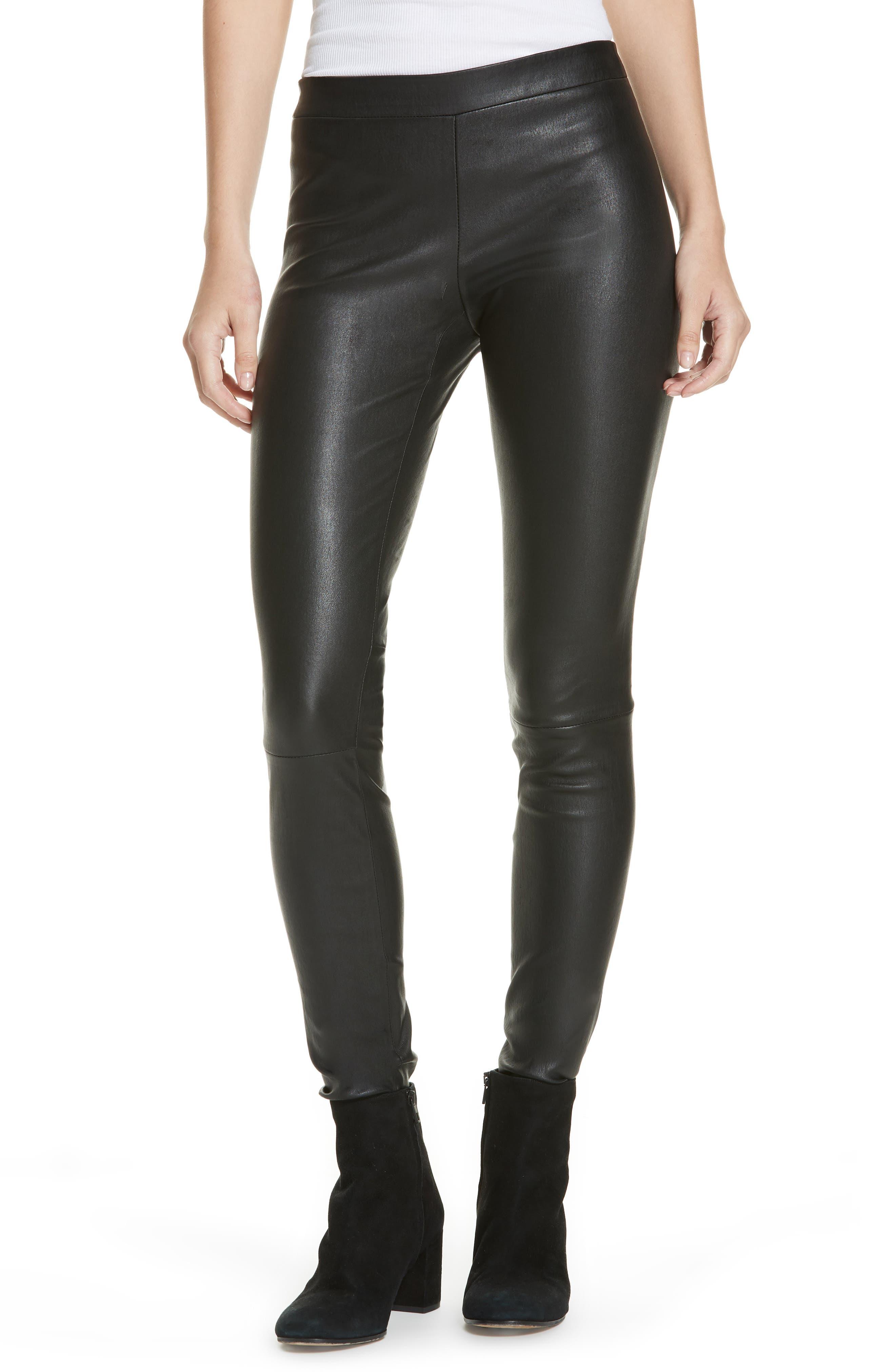 Leather Zip Leggings,                             Main thumbnail 1, color,                             BLACK