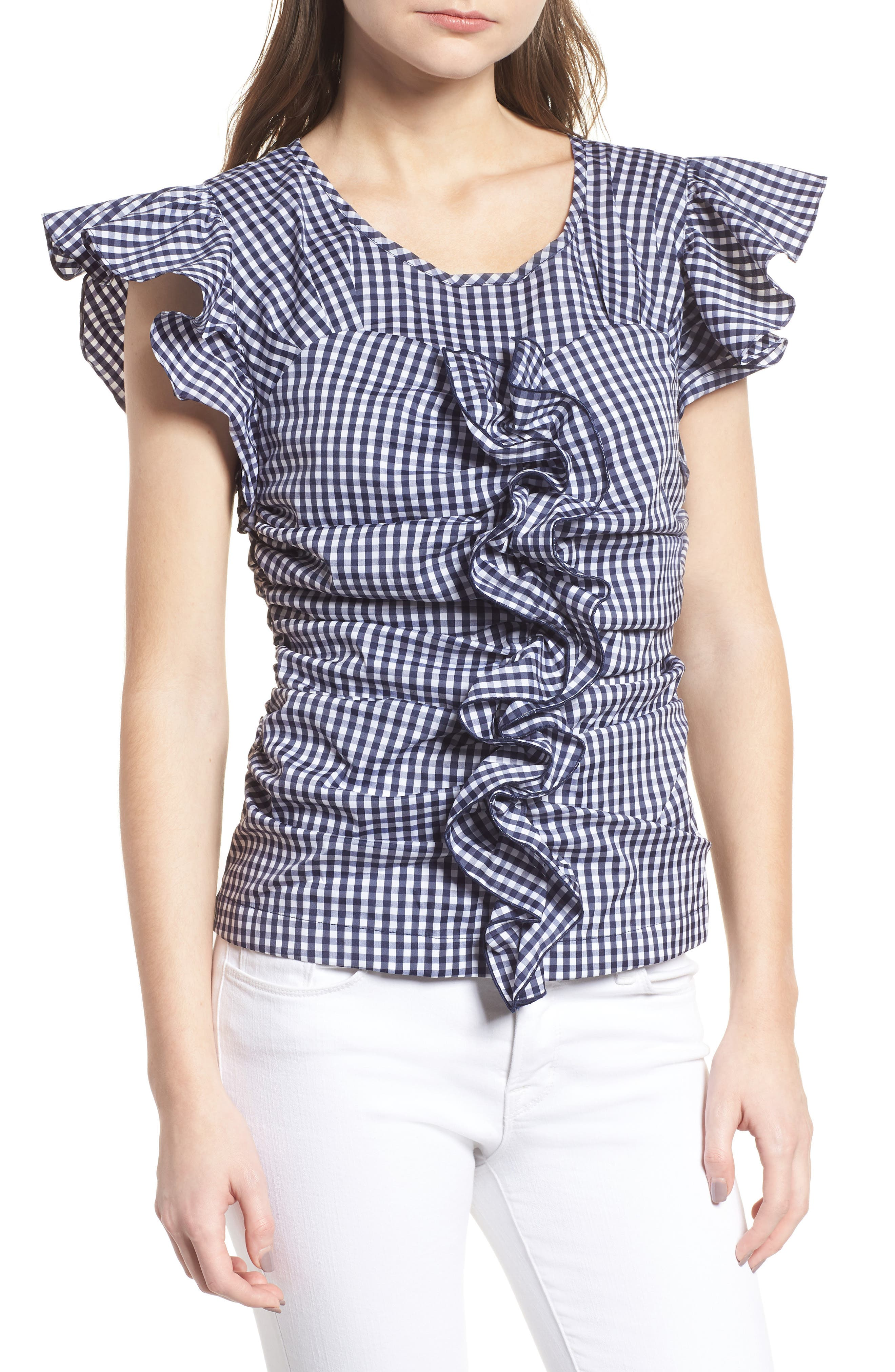 Gingham Ruched Poplin Top,                             Main thumbnail 1, color,                             401