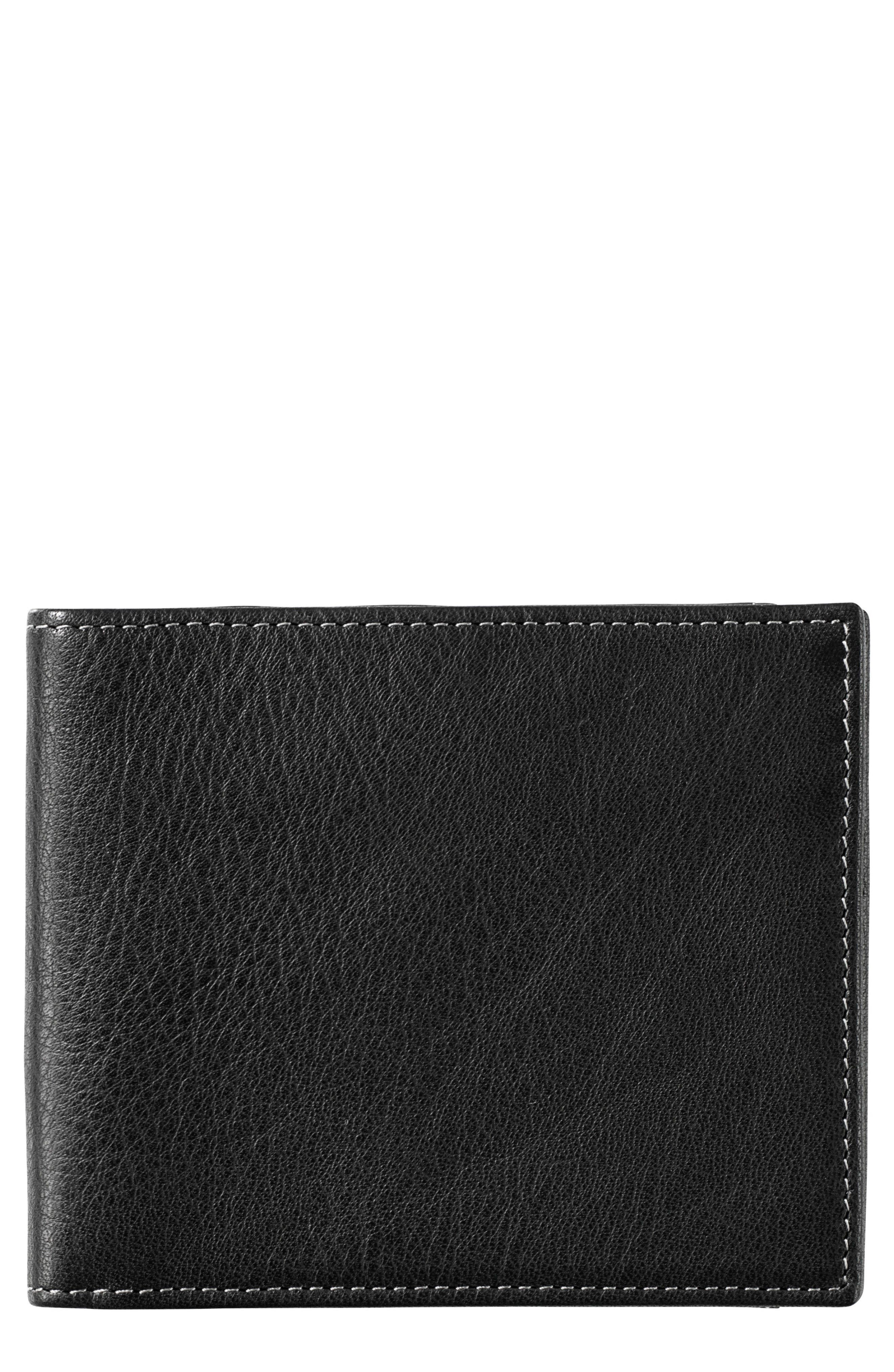 Leather Wallet,                             Main thumbnail 1, color,                             BLACK