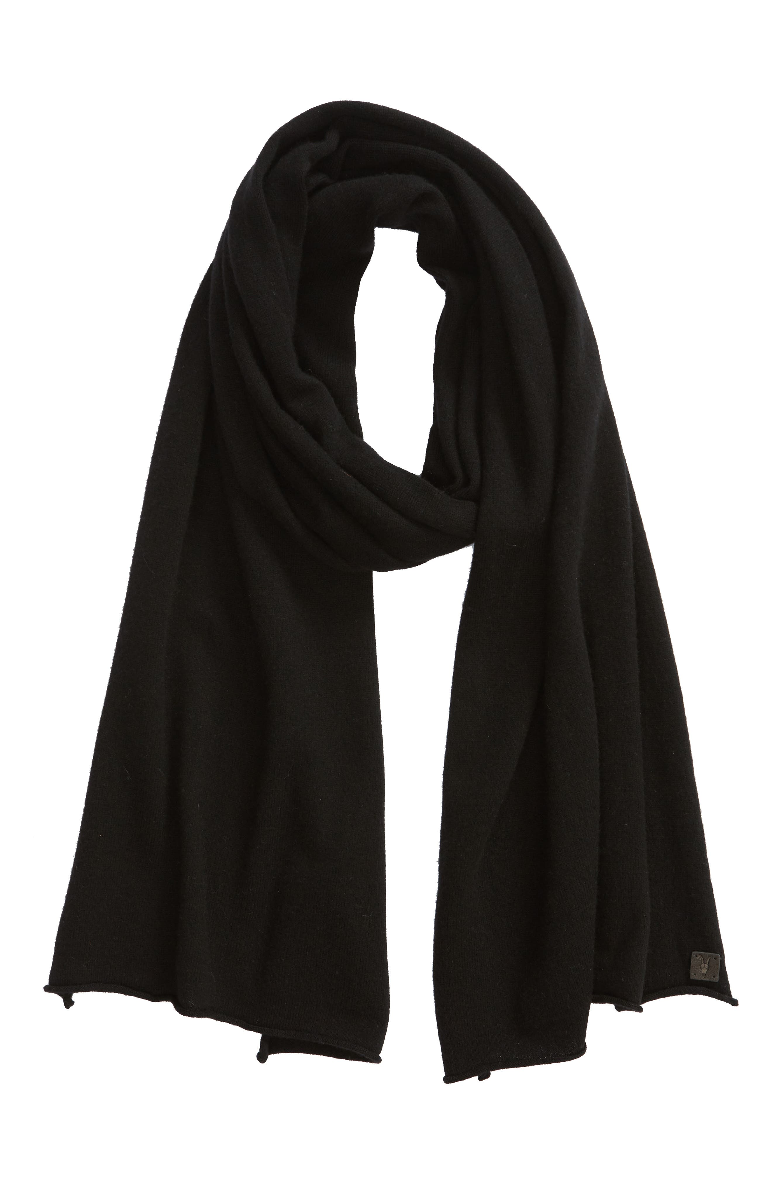 Rolled Ends Wool & Cashmere Scarf,                             Alternate thumbnail 2, color,                             BLACK