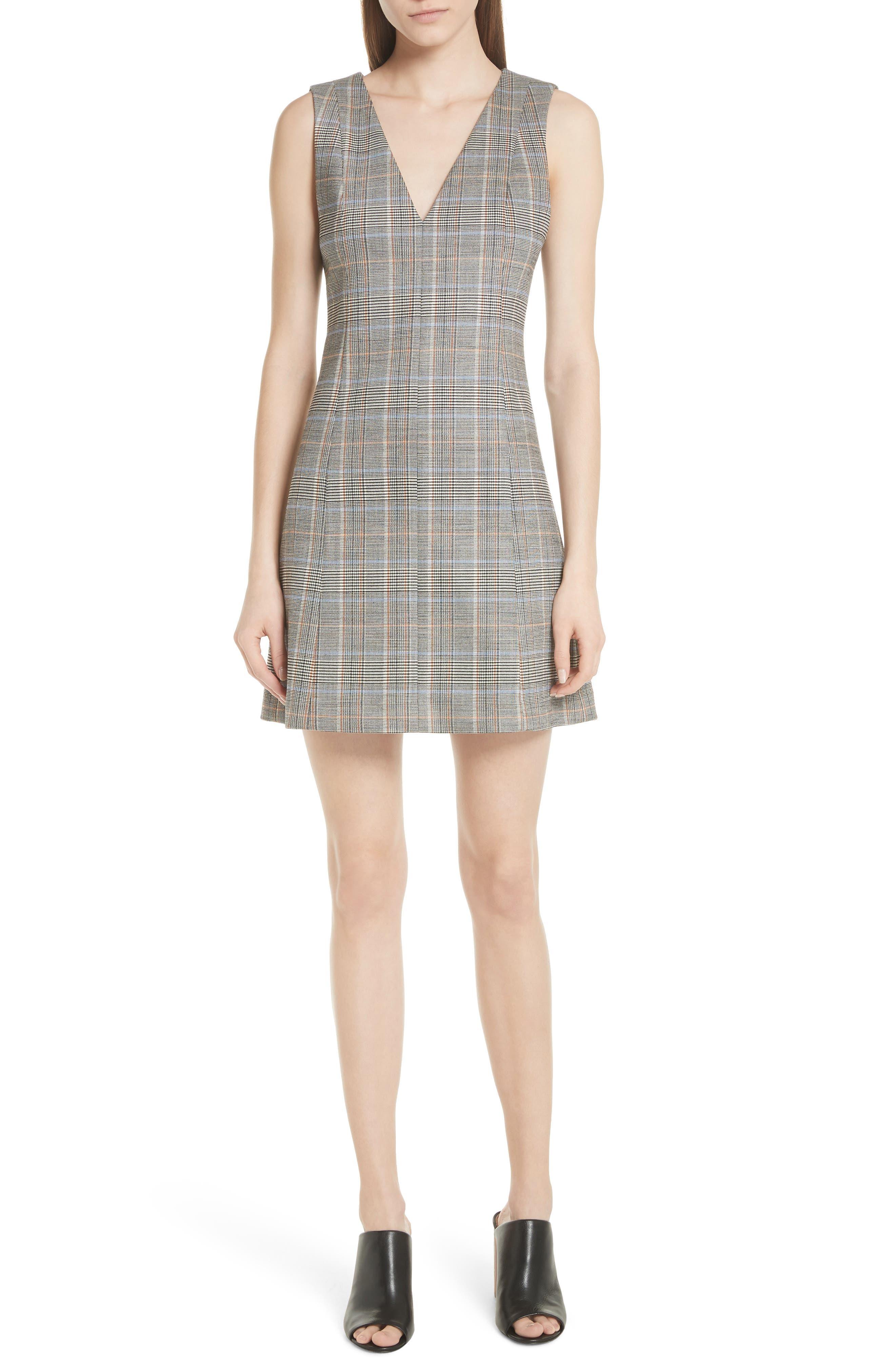 Autumn Plaid A-Line Dress,                         Main,                         color, 015
