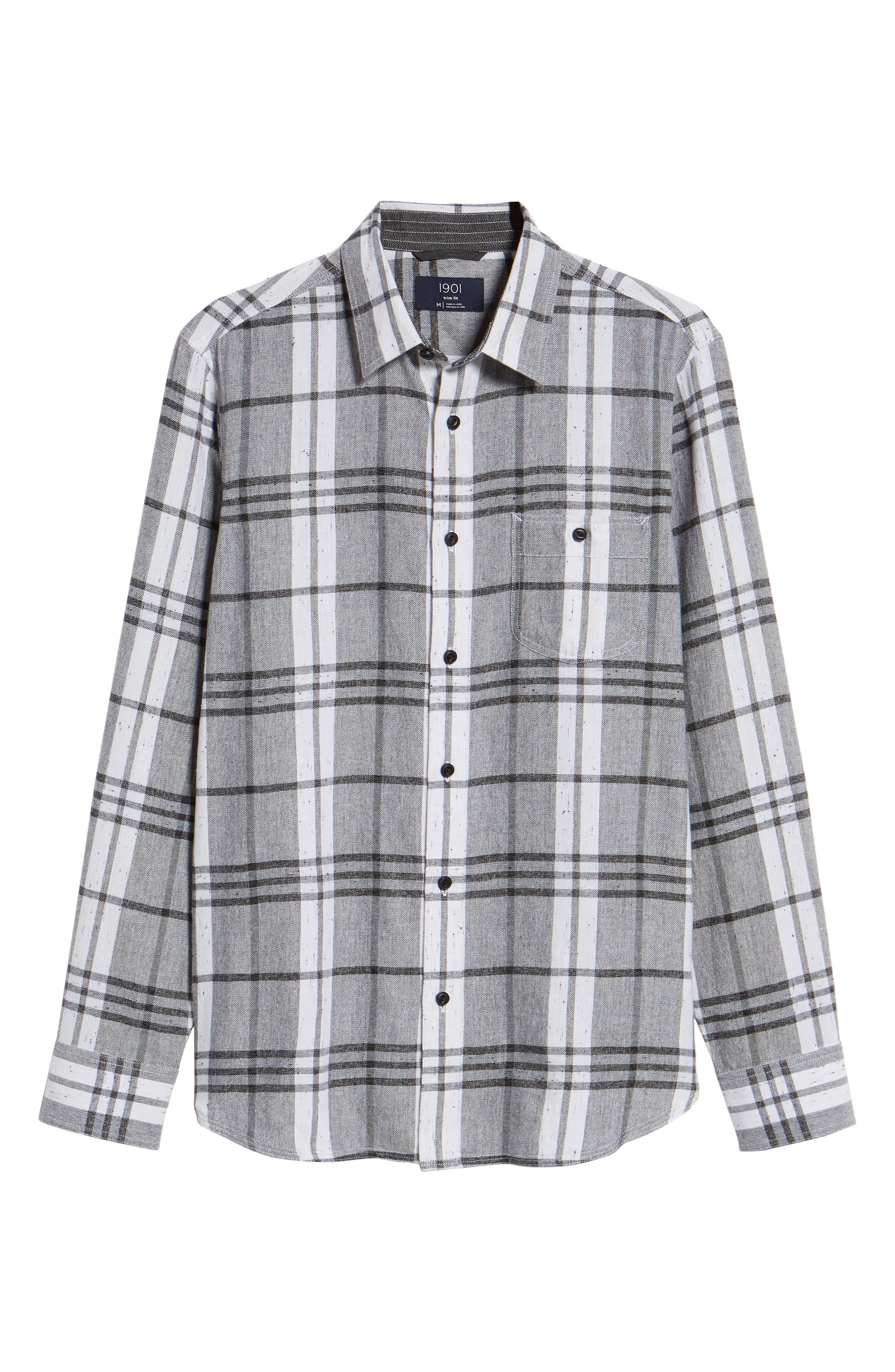 Trim Fit Brushed Plaid Utility Shirt,                             Alternate thumbnail 5, color,                             GREY CASTLEROCK NEP PLAID