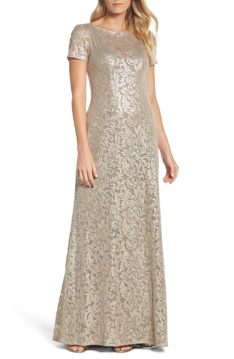 La Femme Shimmer Jacquard Gown   Nordstrom