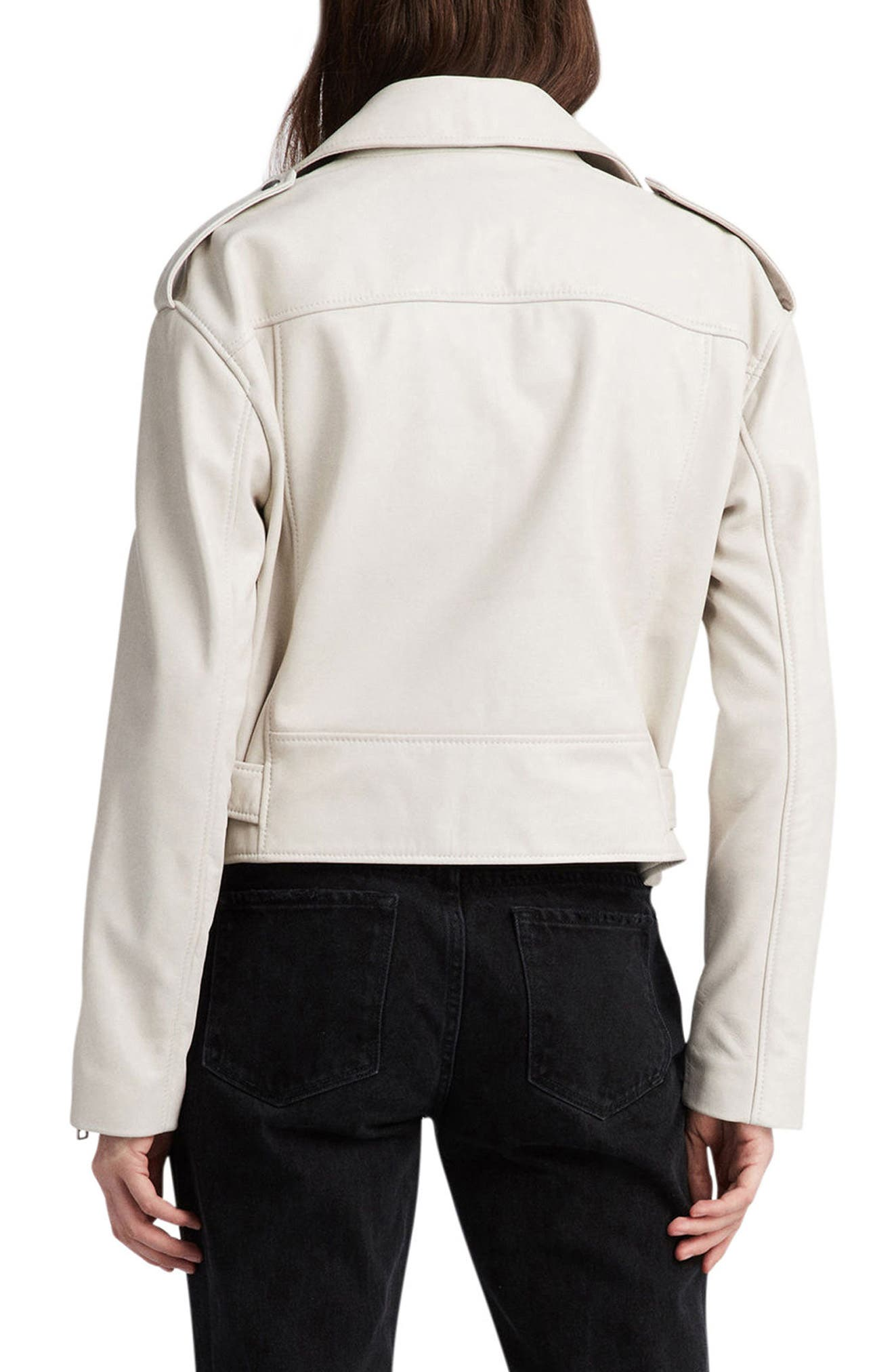 Anderson Sheepskin Leather Biker Jacket,                             Alternate thumbnail 2, color,                             100