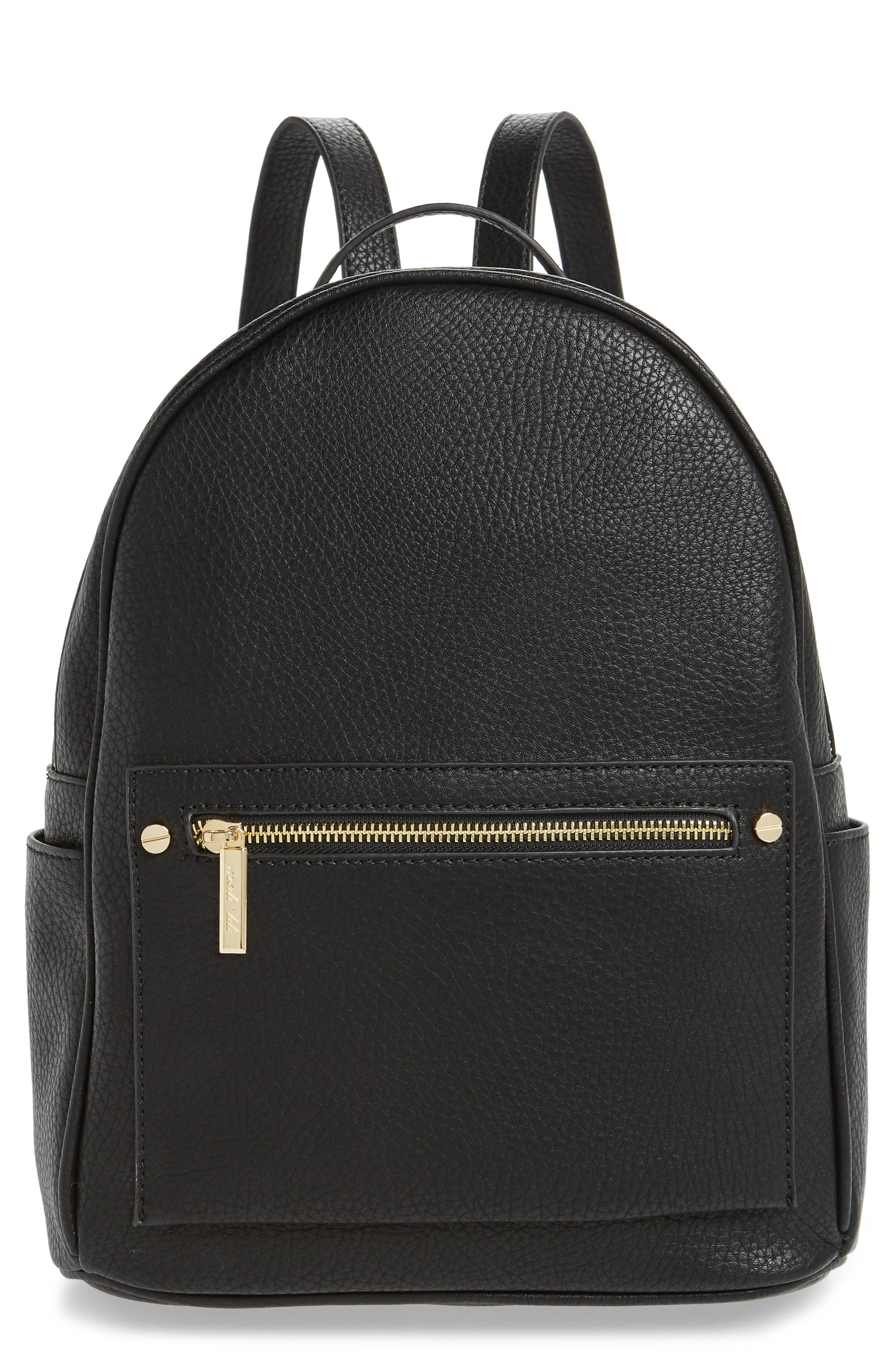 MALI + LILI Addie Vegan Leather Backpack, Main, color, BLACK
