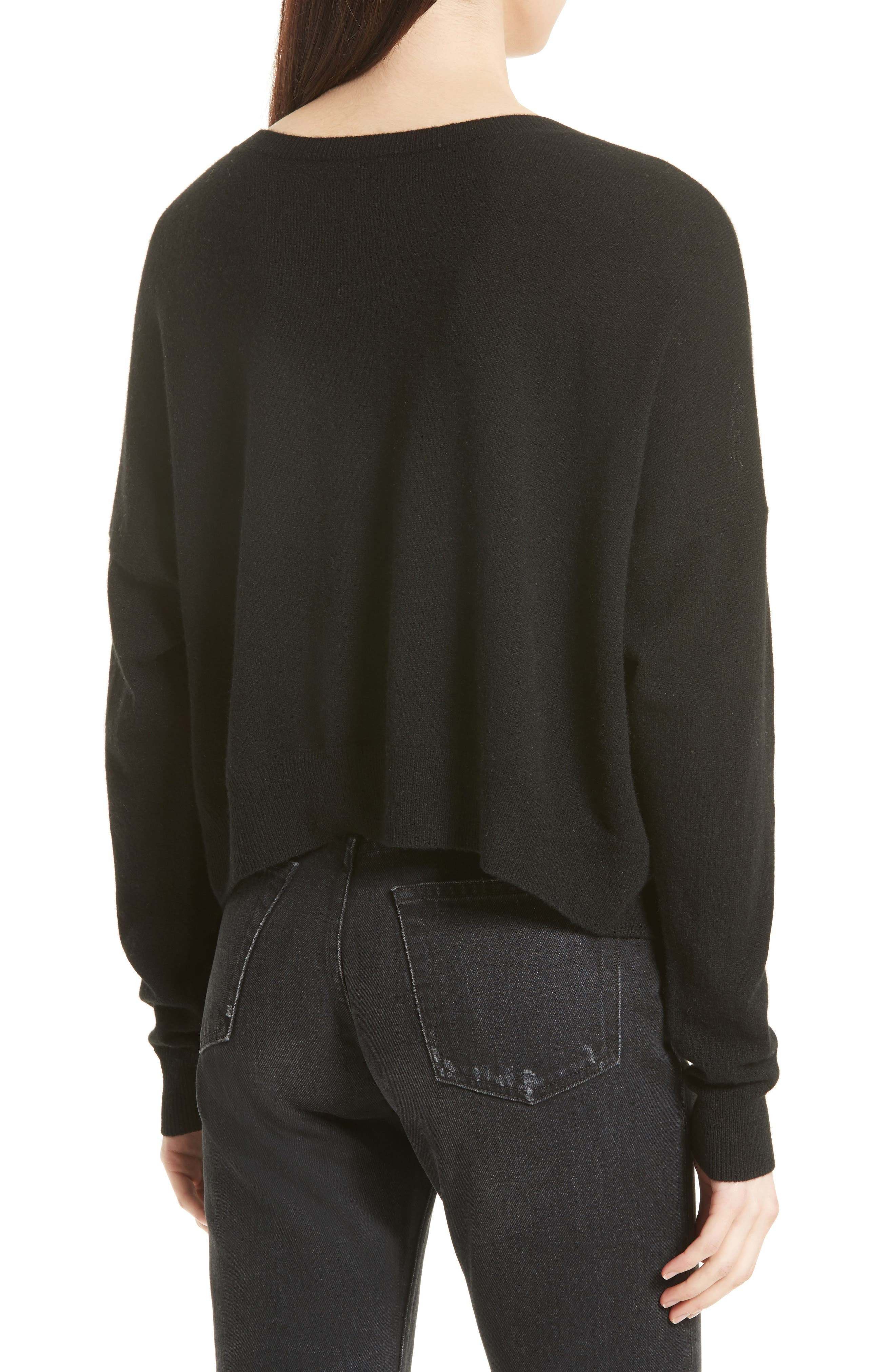 Crop Cashmere Sweater,                             Alternate thumbnail 2, color,                             001