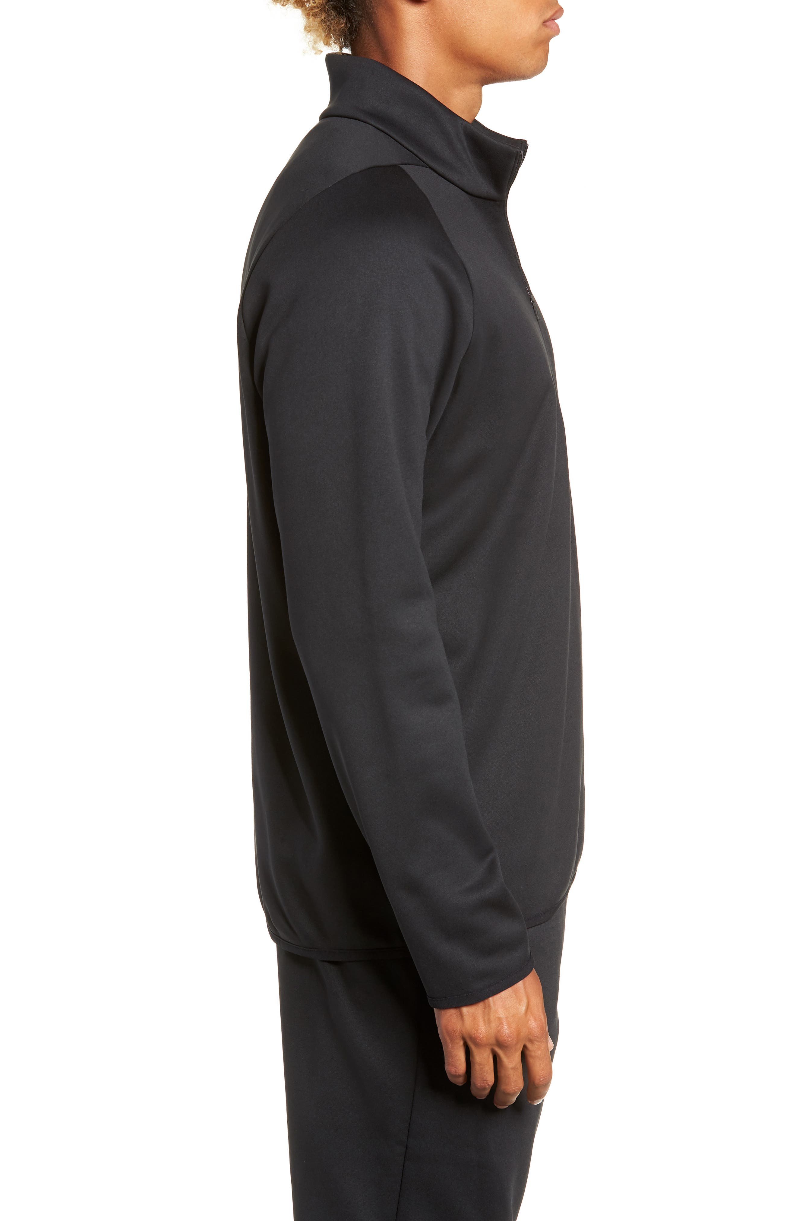 Quarter Zip Pullover,                             Alternate thumbnail 3, color,                             BLACK/ DARK GREY