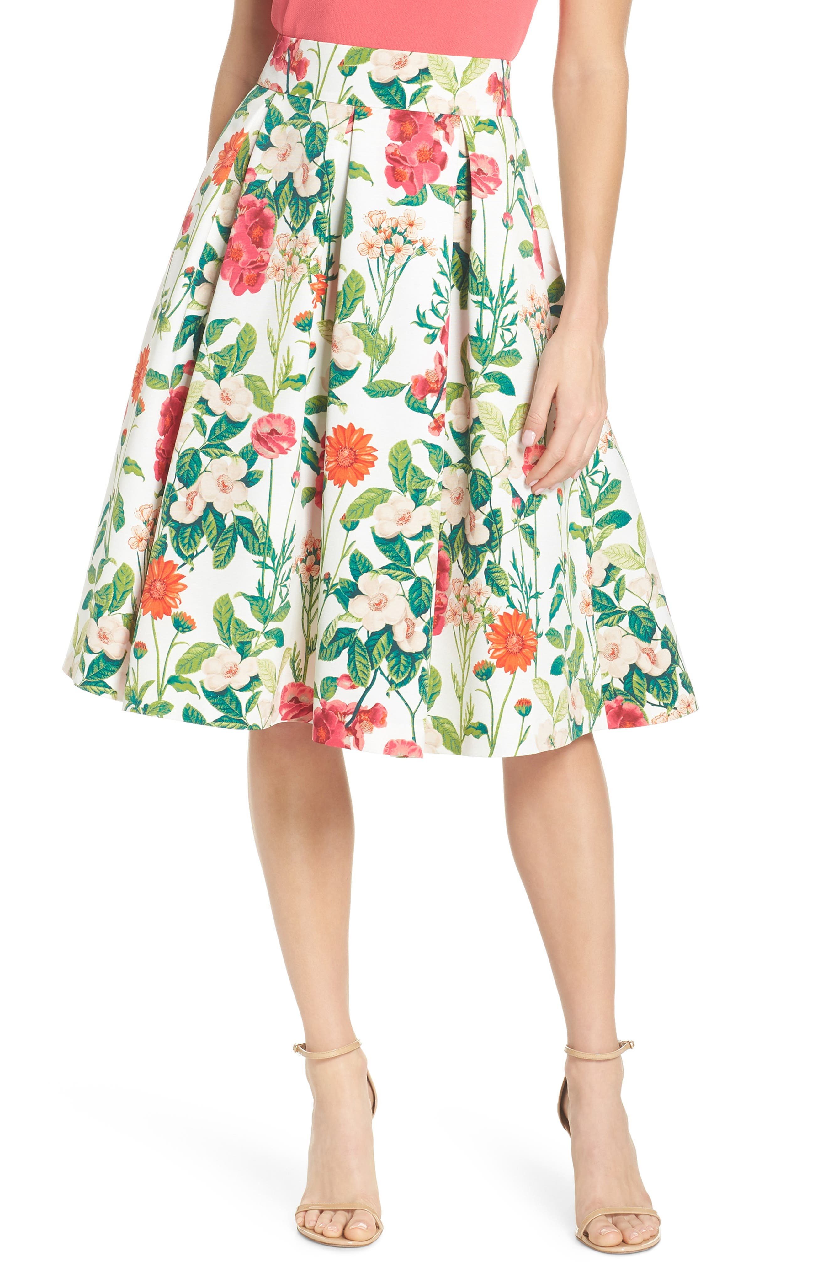 Floral A-Line Skirt,                             Main thumbnail 1, color,                             IVORY MULTI