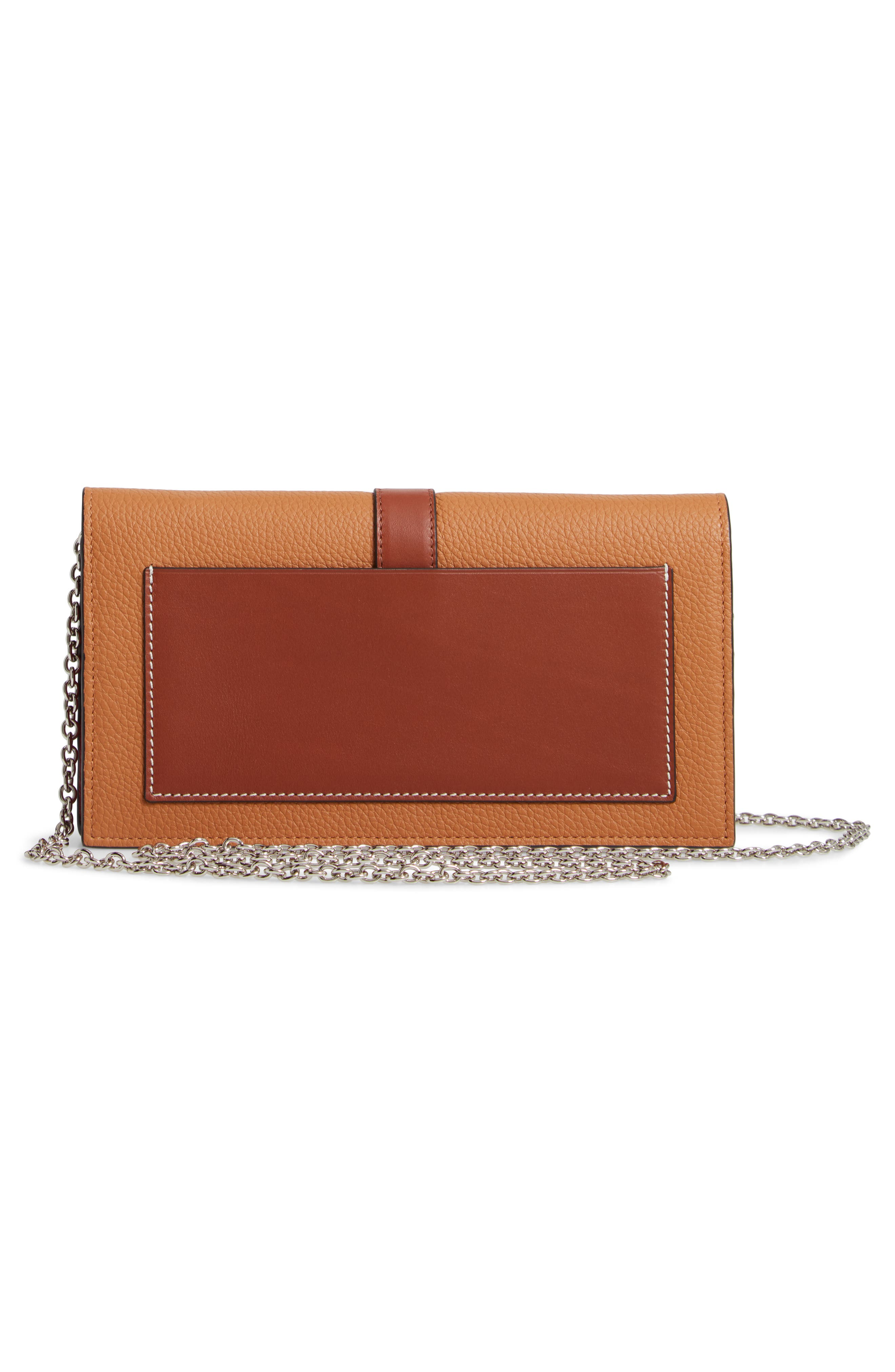 Leather Wallet on a Chain,                             Alternate thumbnail 3, color,                             LIGHT CARAMEL/ PECAN