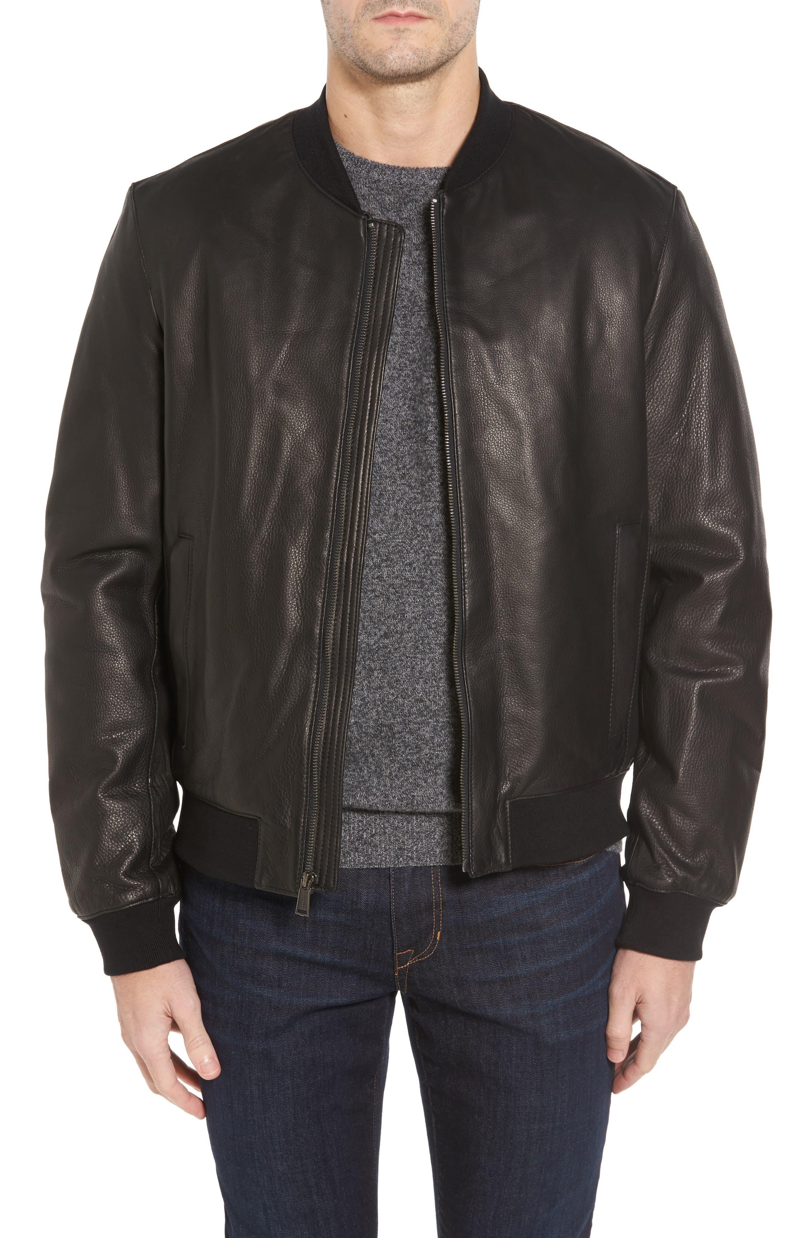 Leather Varsity Jacket,                             Main thumbnail 1, color,