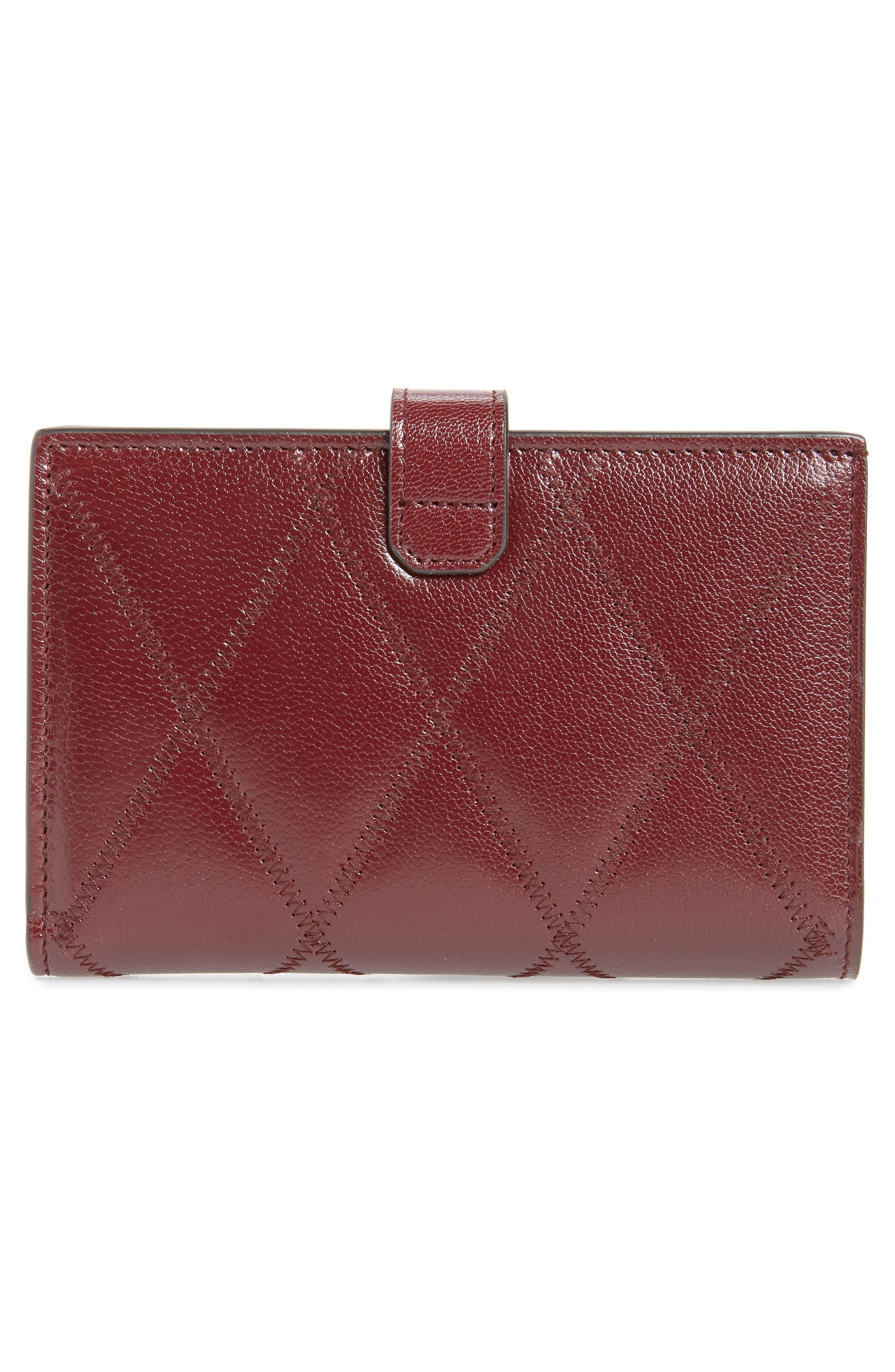 Medium GV3 Diamond Quilted Leather Wallet,                             Alternate thumbnail 4, color,                             AUBERGINE