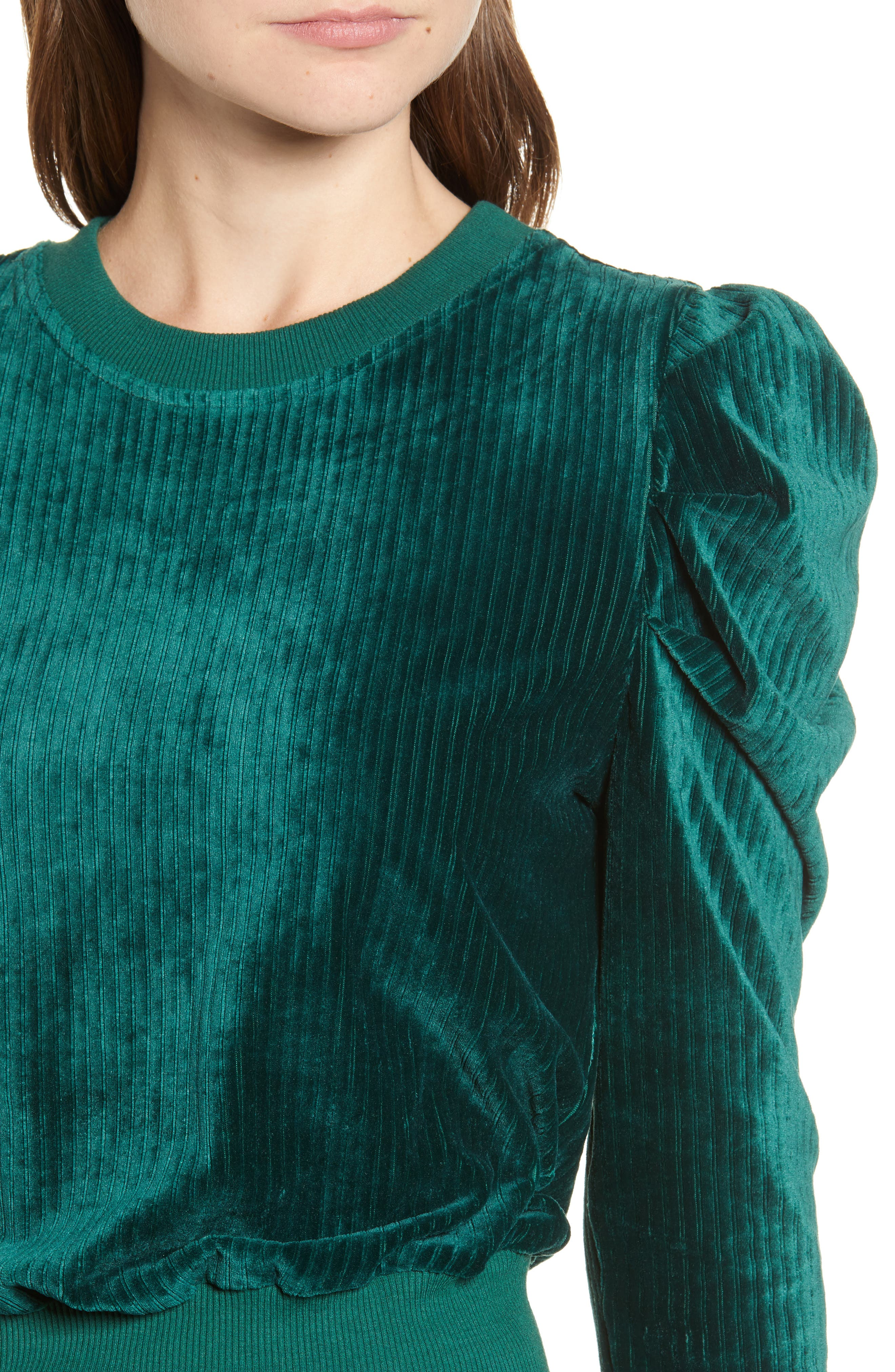 Velour Puff Sleeve Sweatshirt,                             Alternate thumbnail 4, color,                             PINE