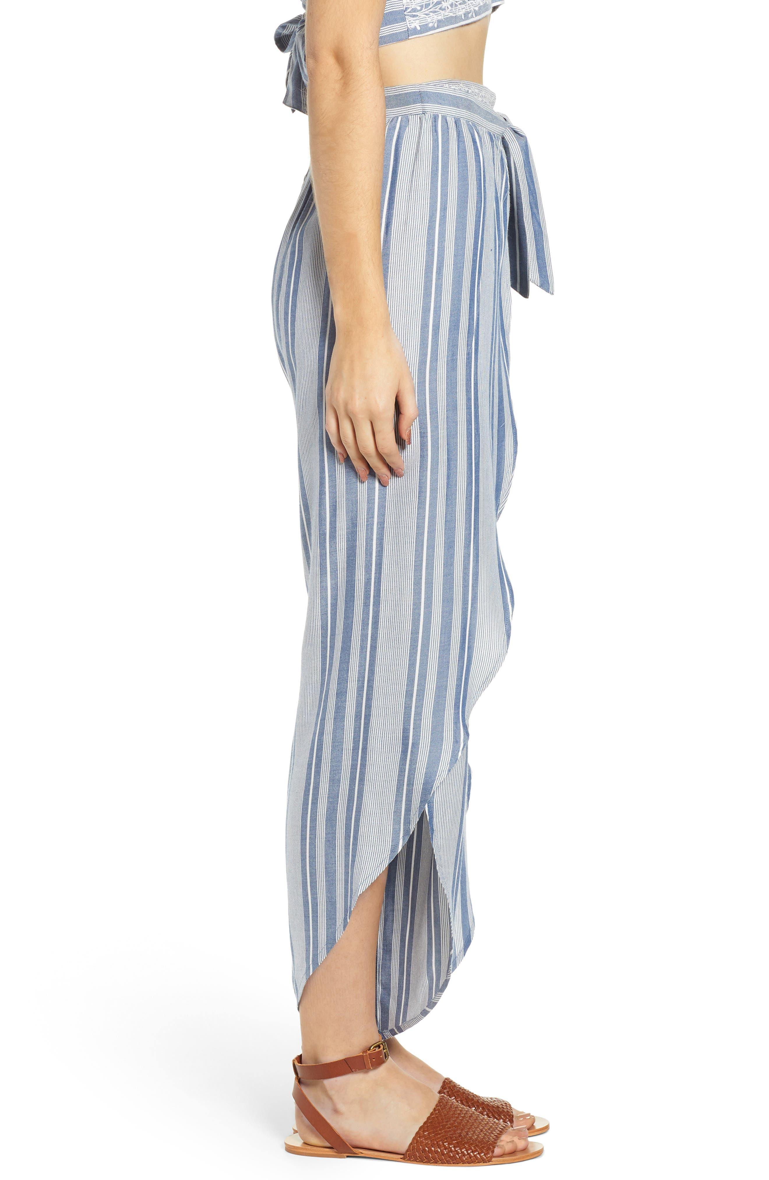 Jessa Stripe Tulip Hem Pants,                             Alternate thumbnail 3, color,                             MARSHMALLOW EMBROIDERED FLORAL