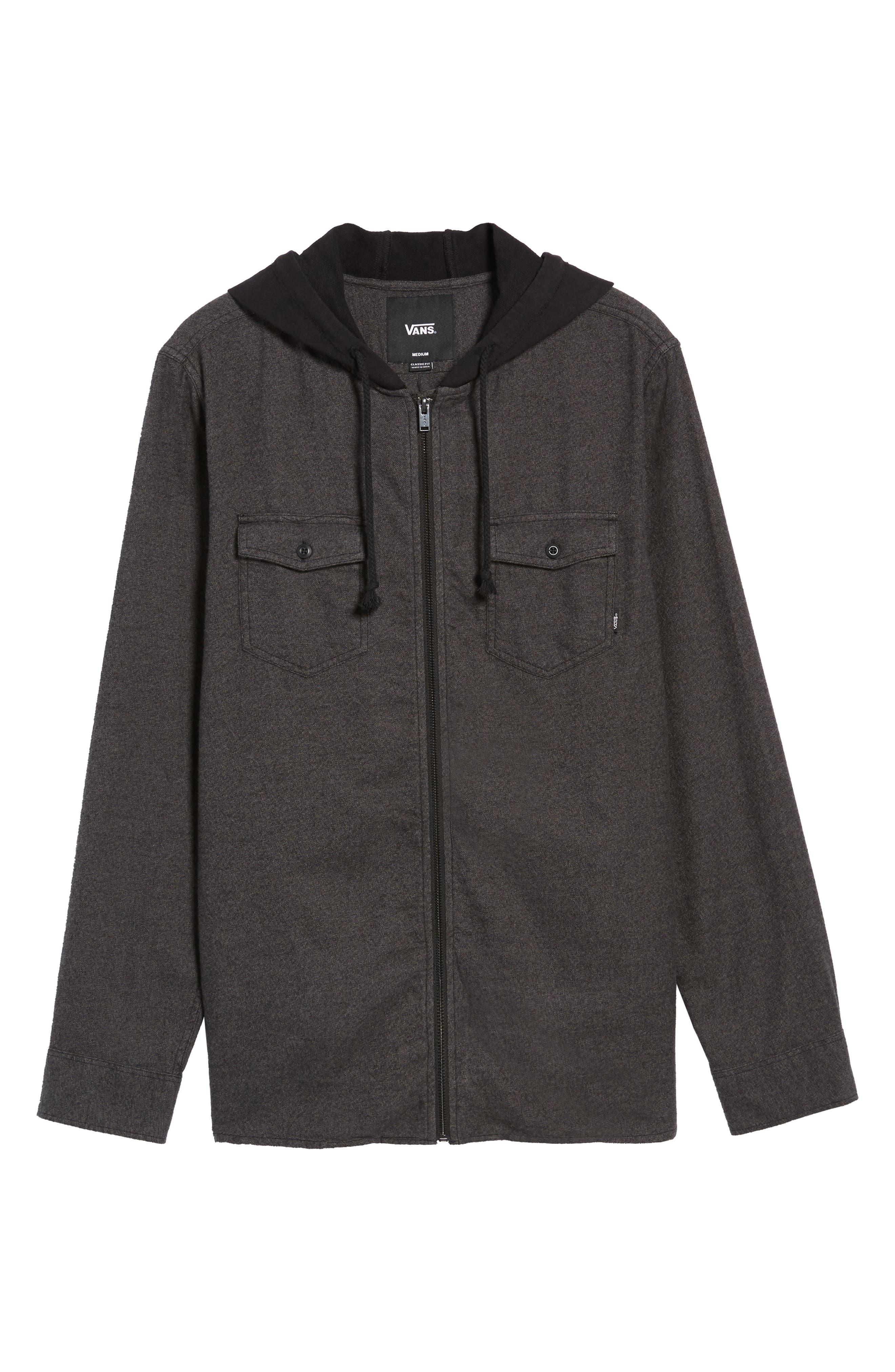 Never Mind Hooded Zip Shirt Jacket,                             Alternate thumbnail 6, color,                             001
