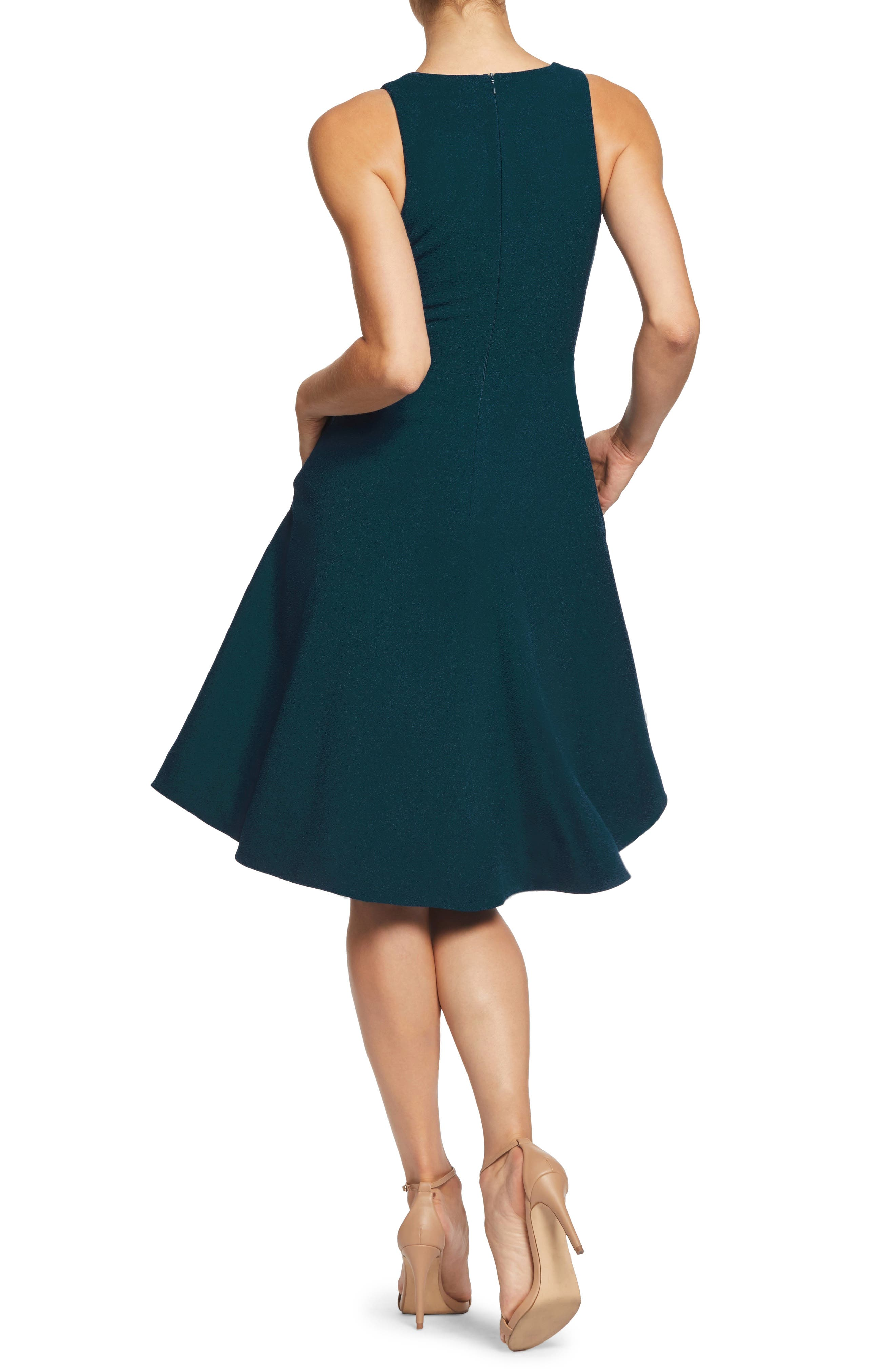 Catalina Tea Length Fit & Flare Dress,                             Alternate thumbnail 2, color,                             PINE