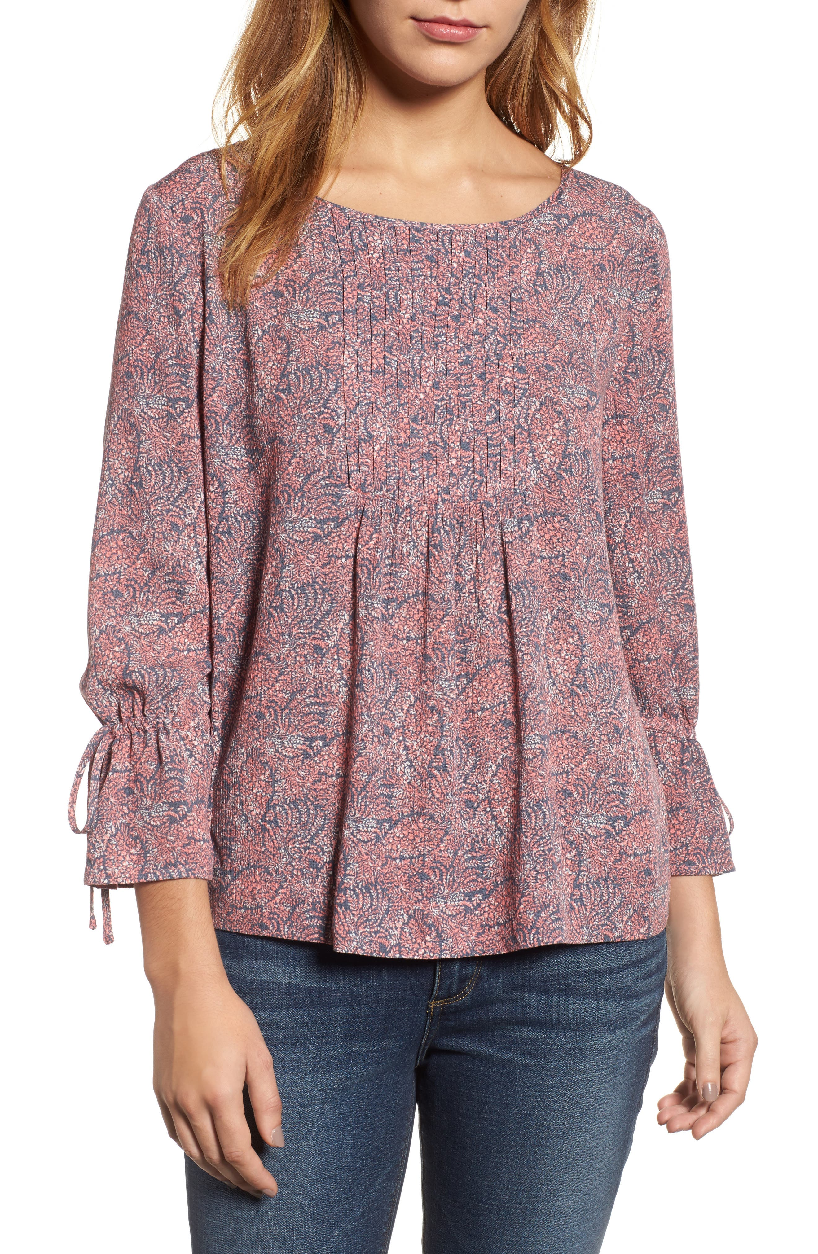 Printed Tie Sleeve Blouse,                             Main thumbnail 1, color,                             420