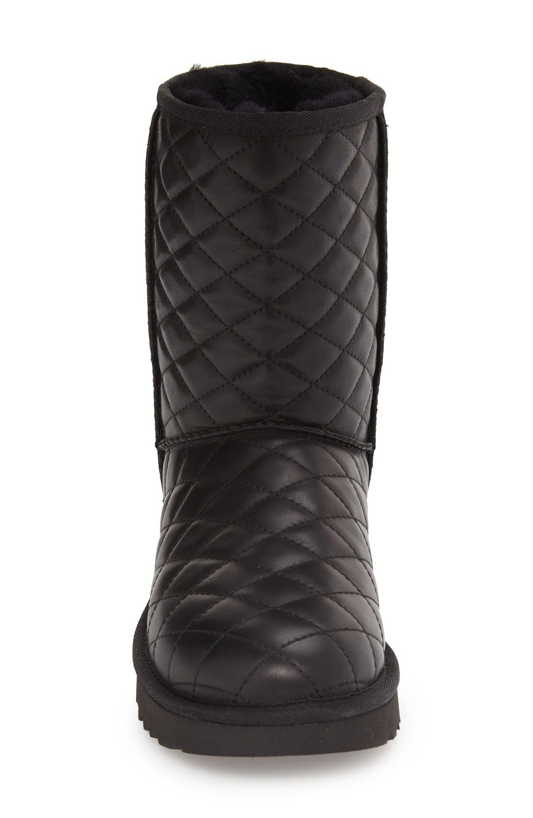UGG<SUP>®</SUP>,                             Classic Short Quilted Boot,                             Alternate thumbnail 3, color,                             001
