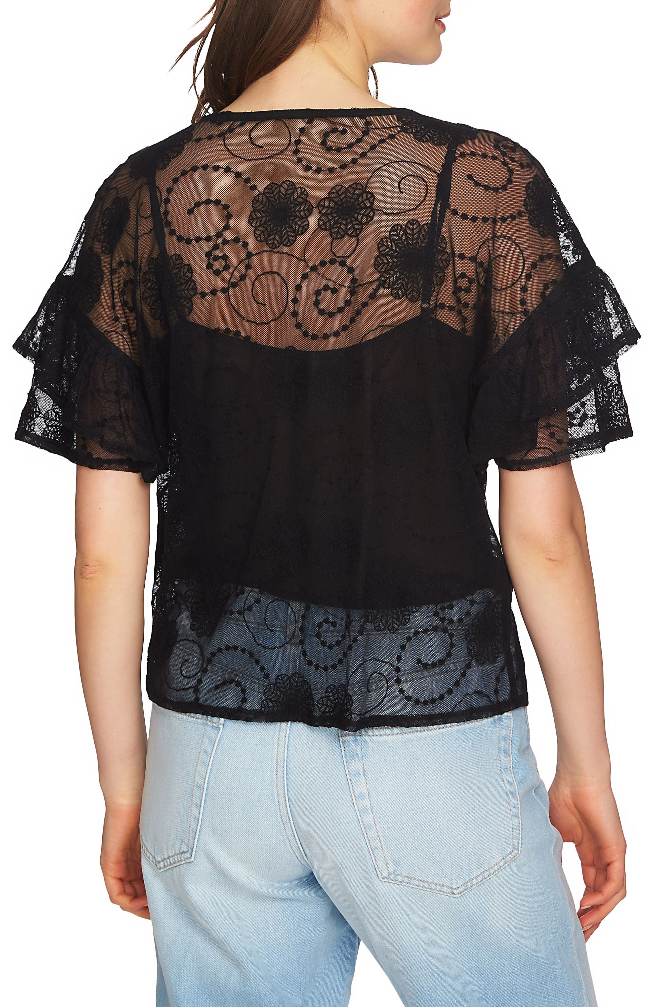 Embroidered Ruffle Sleeve Top,                             Alternate thumbnail 2, color,                             006