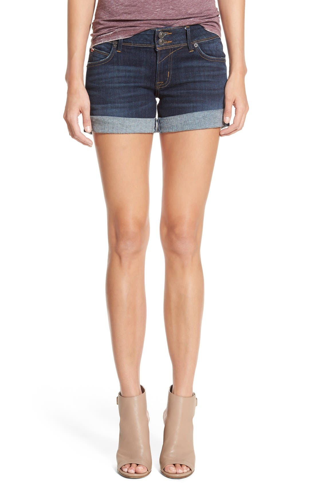 'Croxley' Cuffed Denim Shorts,                             Main thumbnail 1, color,
