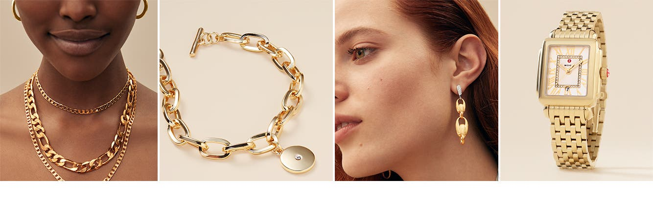 Trending: bold gold jewelry for women.