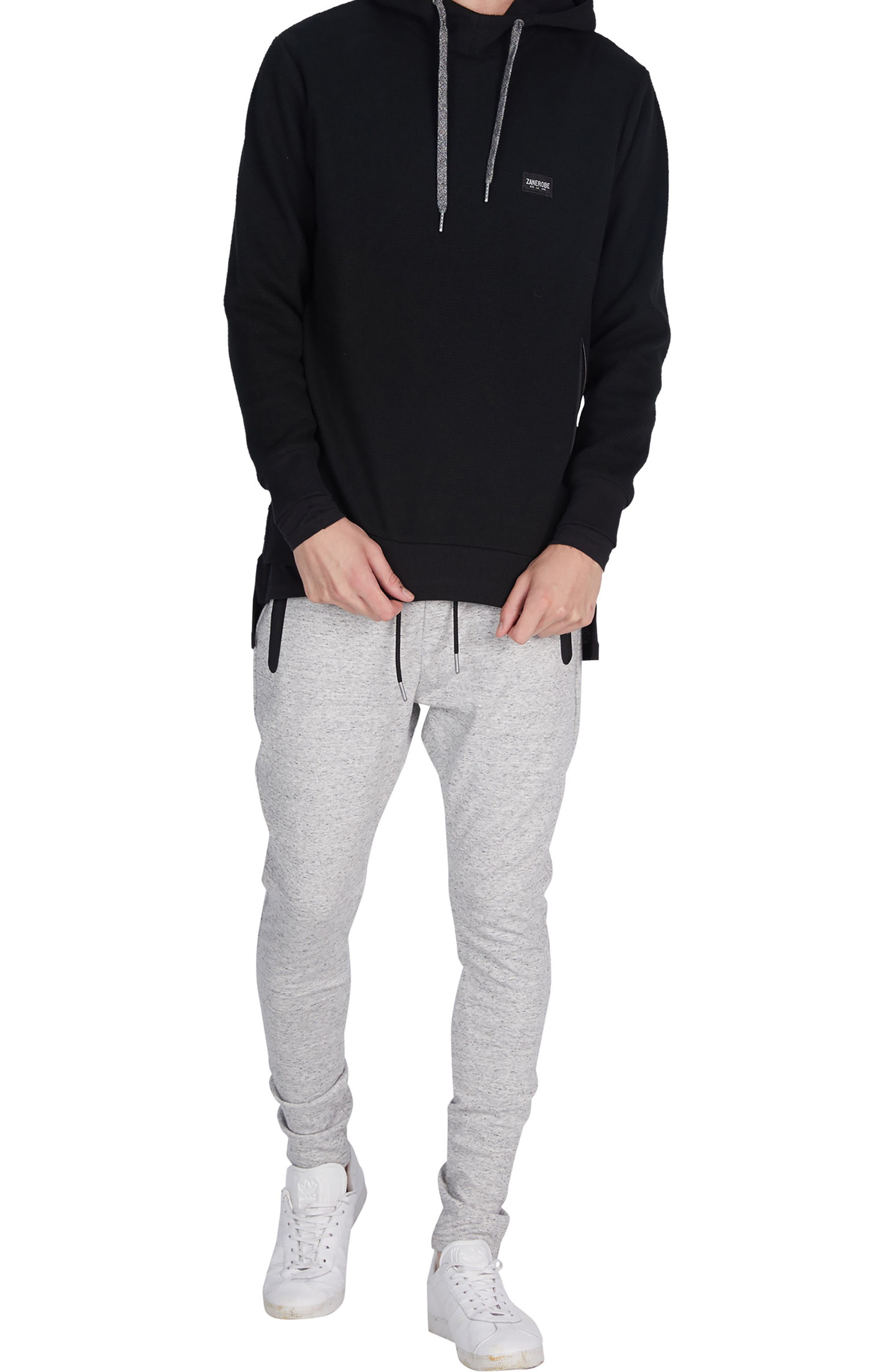 Waffle Knit Hoodie,                             Alternate thumbnail 5, color,                             001