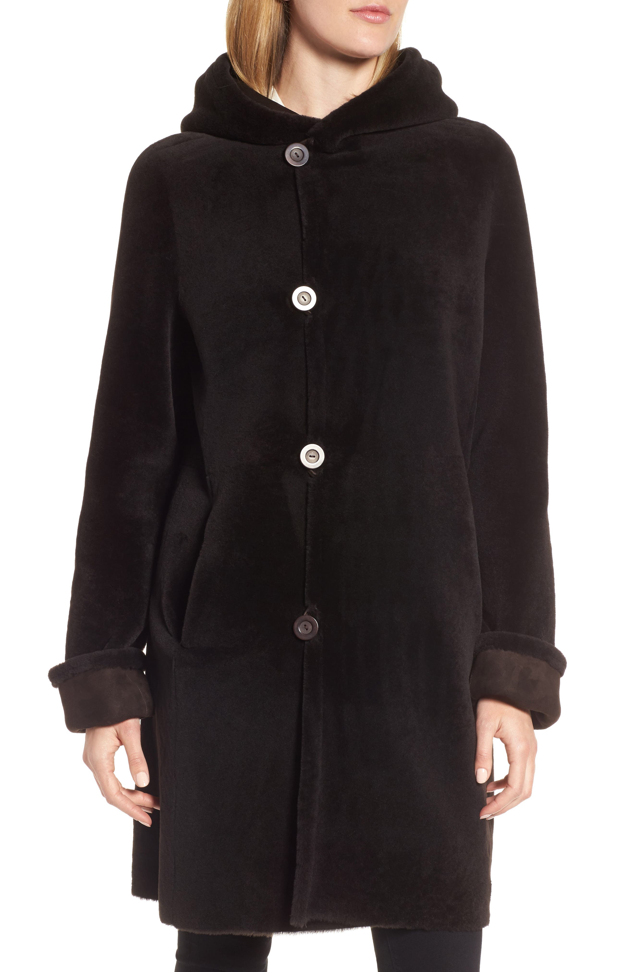 Hooded Genuine Shearling Coat,                             Alternate thumbnail 4, color,