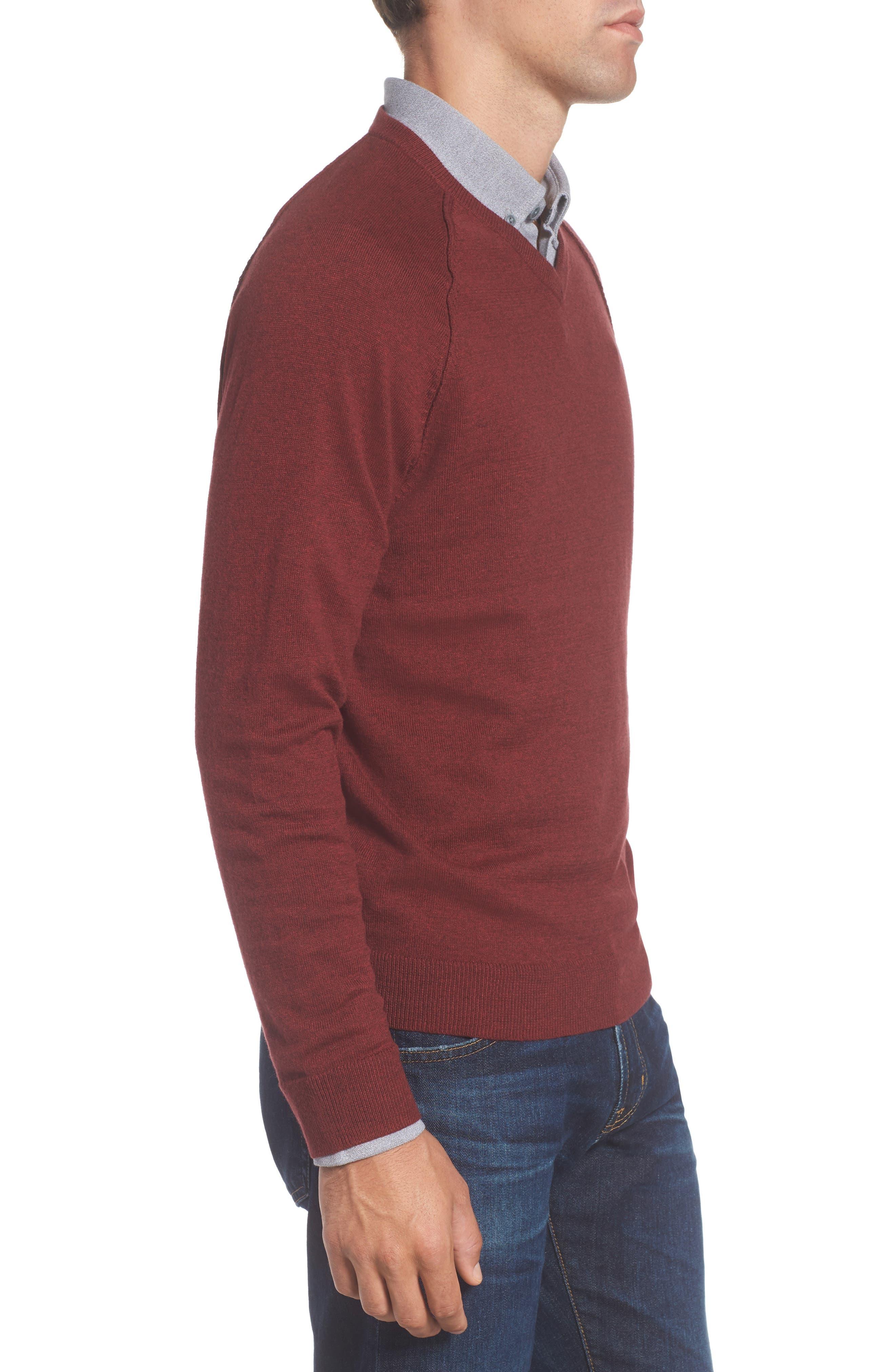 Saddle Shoulder Cotton & Cashmere V-Neck Sweater,                             Alternate thumbnail 24, color,