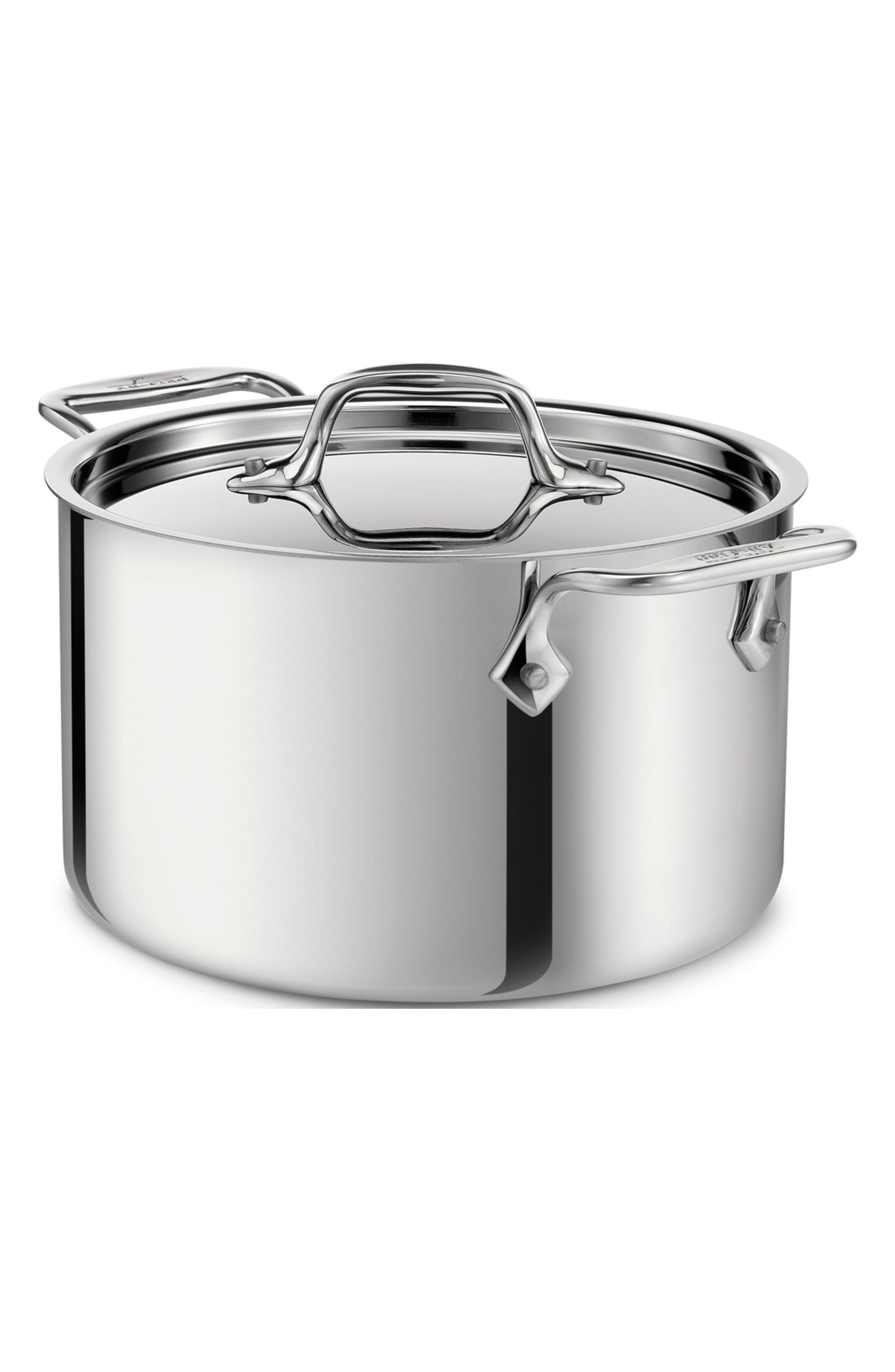 4-Quart Casserole with Lid,                             Main thumbnail 1, color,                             STAINLESS STEEL
