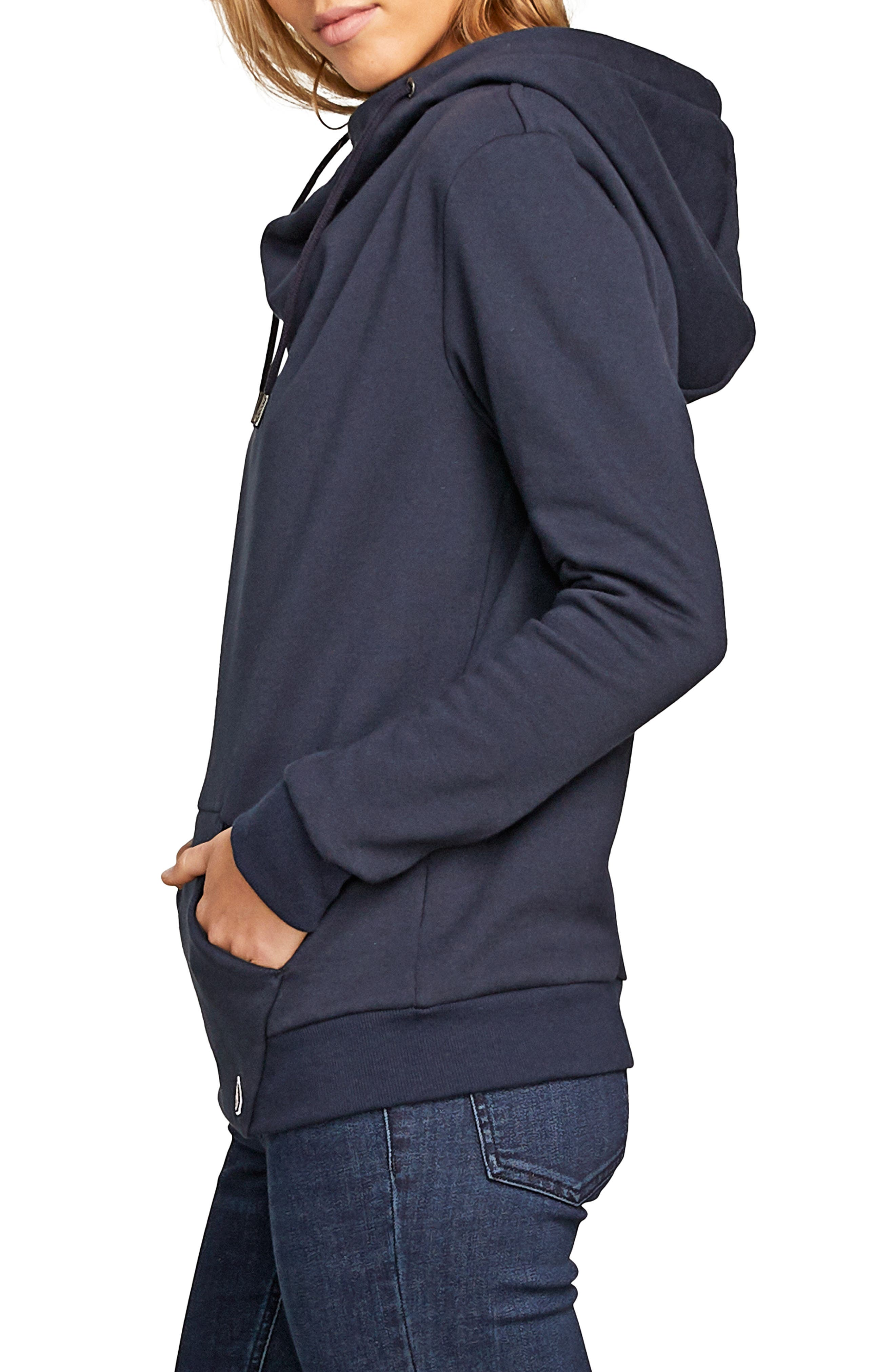 Walk On By Funnel Neck Hoodie,                             Alternate thumbnail 3, color,                             SEA NAVY