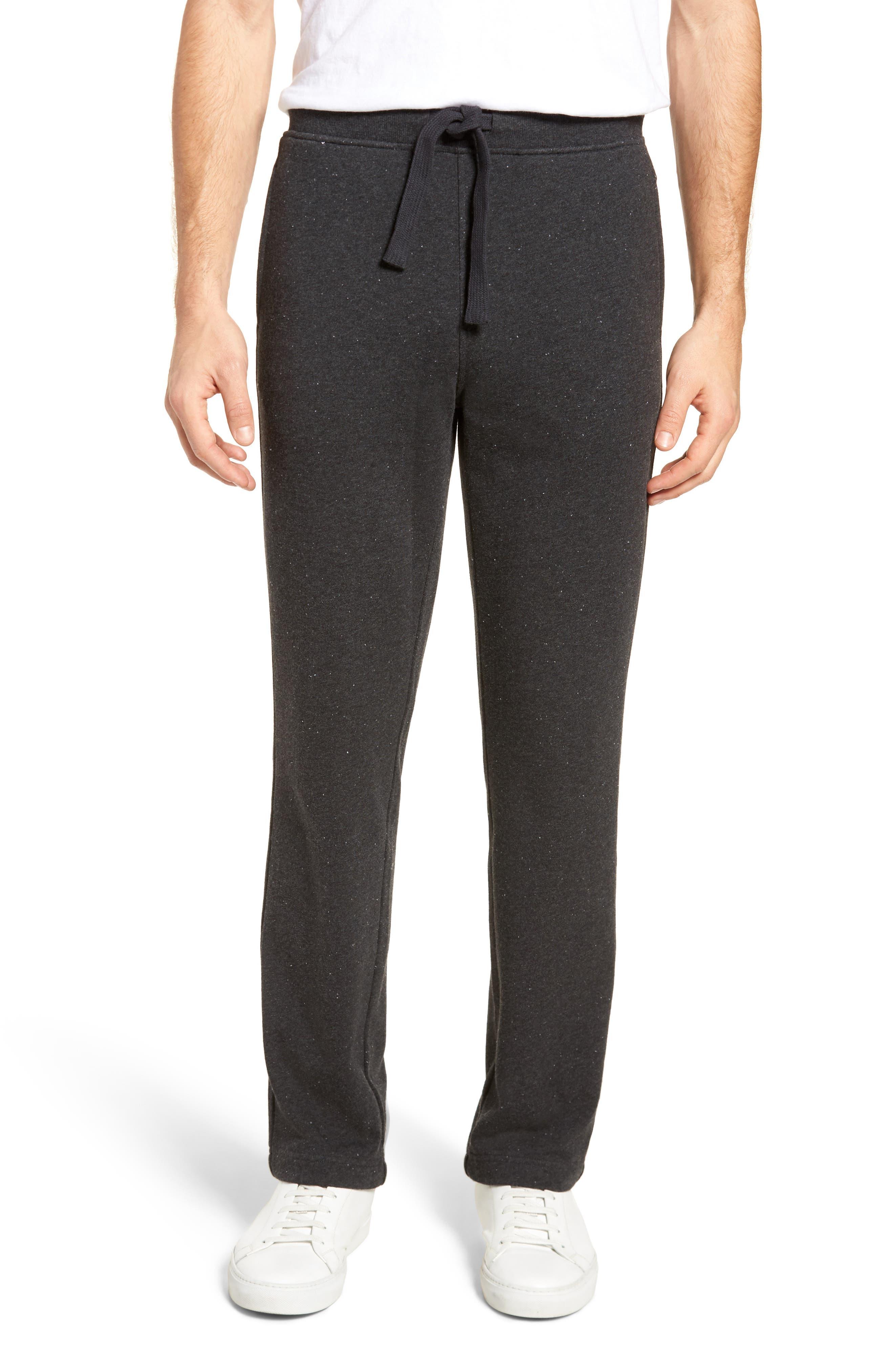 Wyatt Terry Cotton Blend Lounge Pants,                         Main,                         color, BLACK