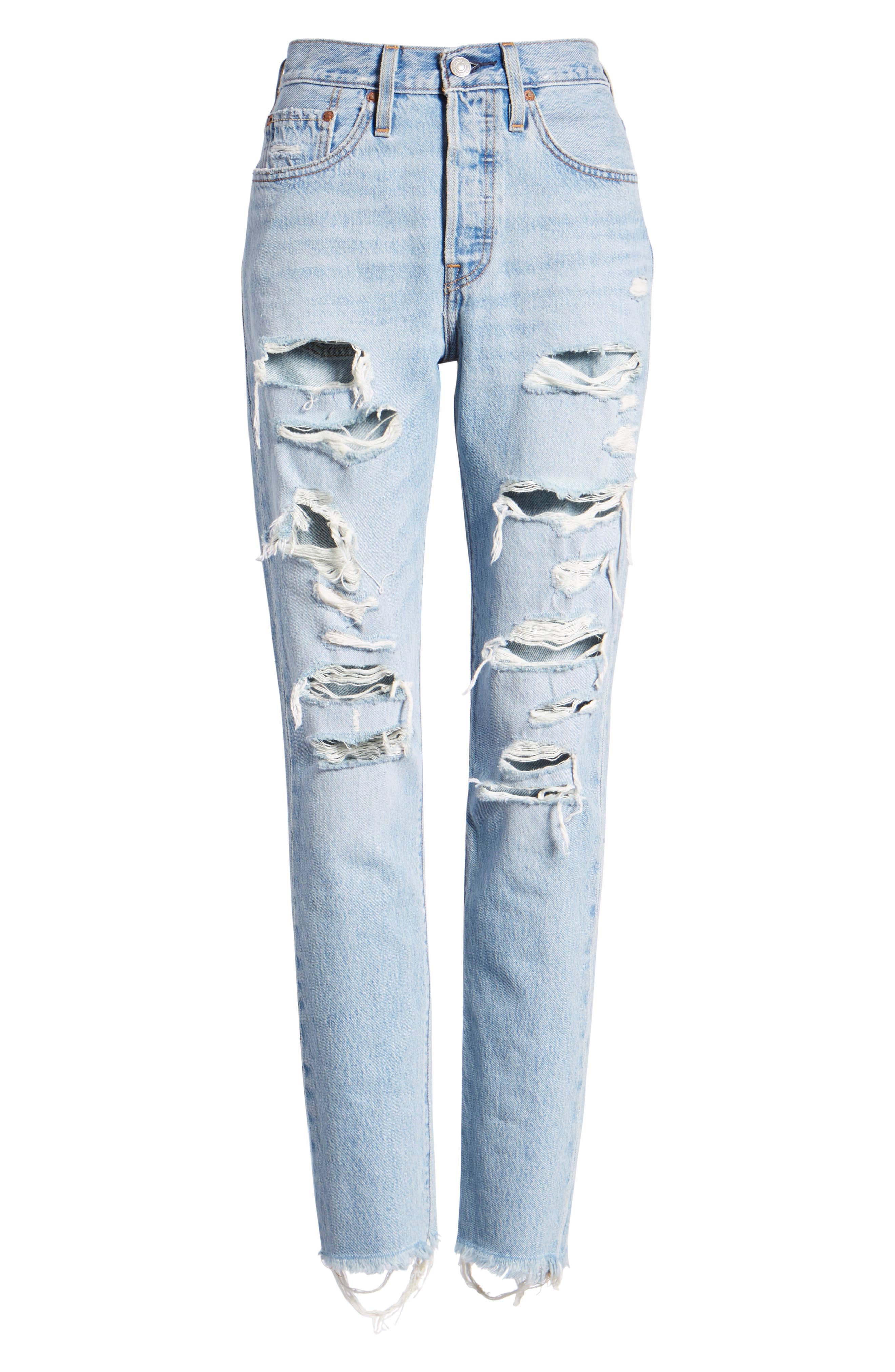 501<sup>®</sup> Ripped High Waist Skinny Jeans,                             Alternate thumbnail 7, color,                             THRASHED