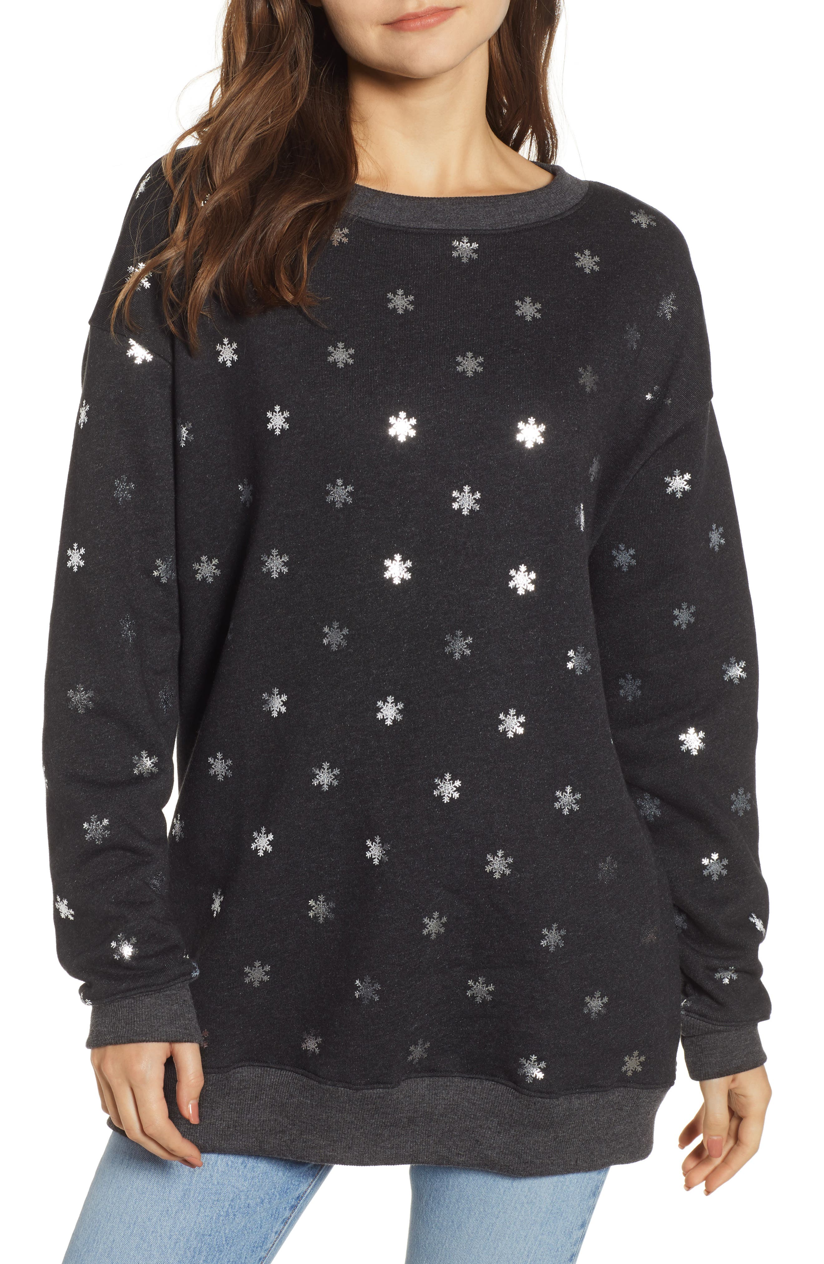 WILDFOX Shimmery Snowflakes Road Trip Pullover, Main, color, 002