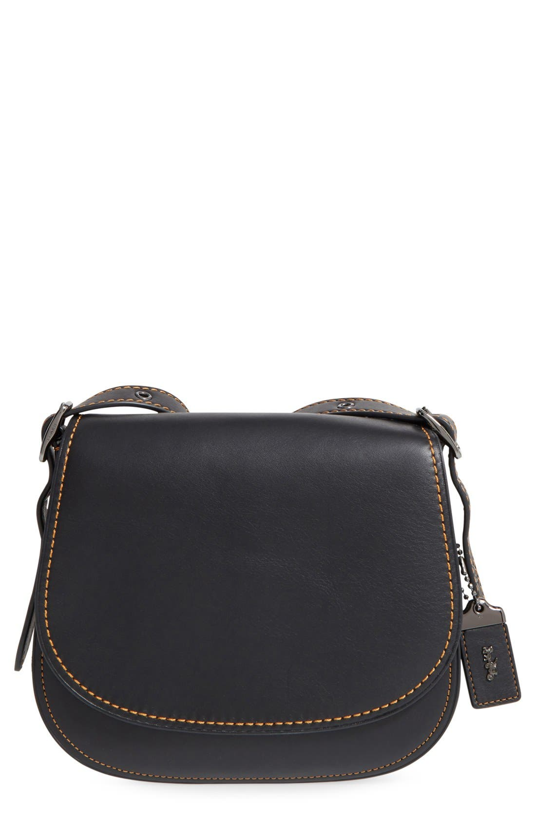 COACH,                             1941 '23' Leather Saddle Bag,                             Main thumbnail 1, color,                             001