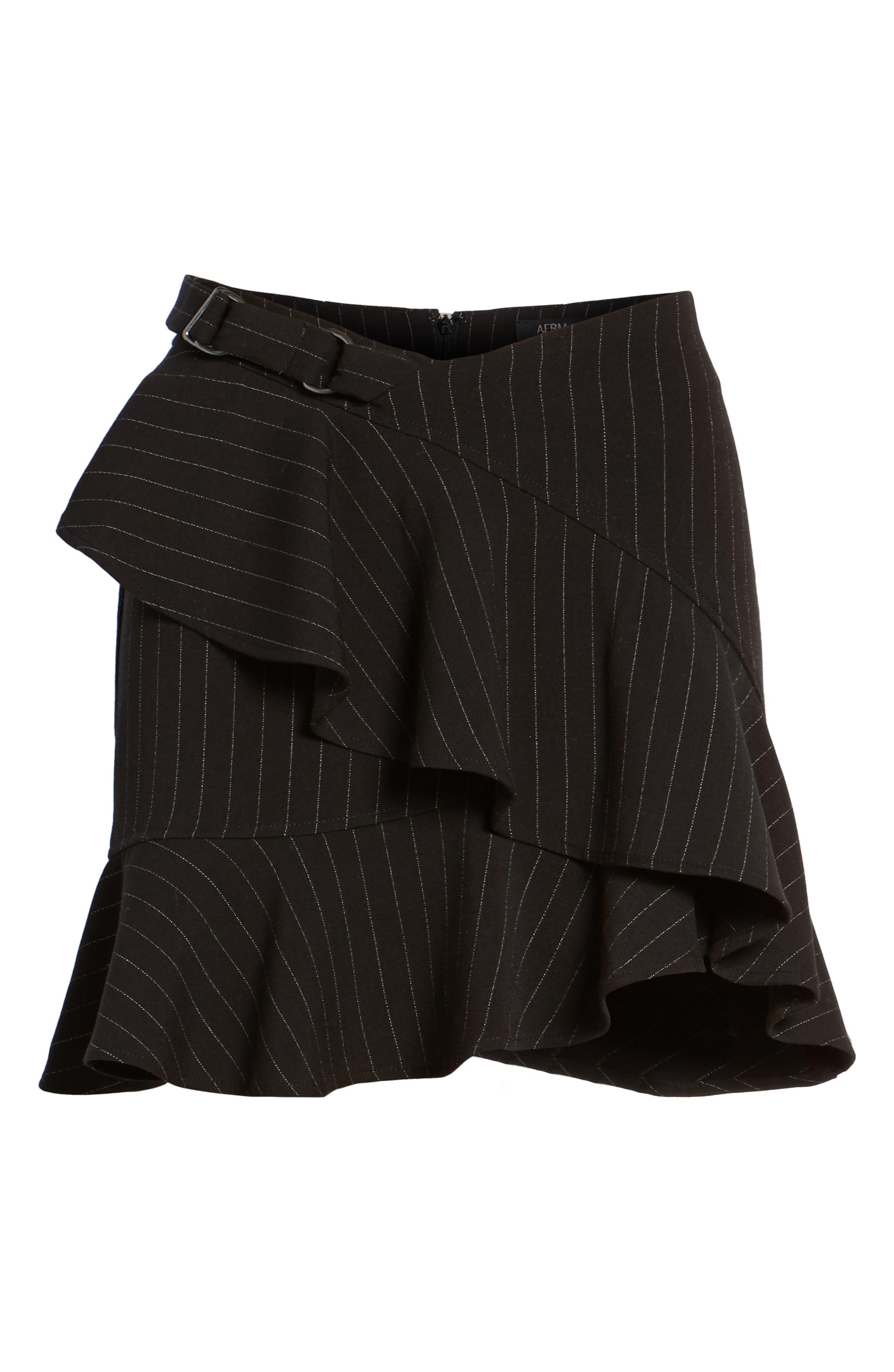 Dominic Asymmetrical Ruffle Skirt,                             Alternate thumbnail 6, color,                             001