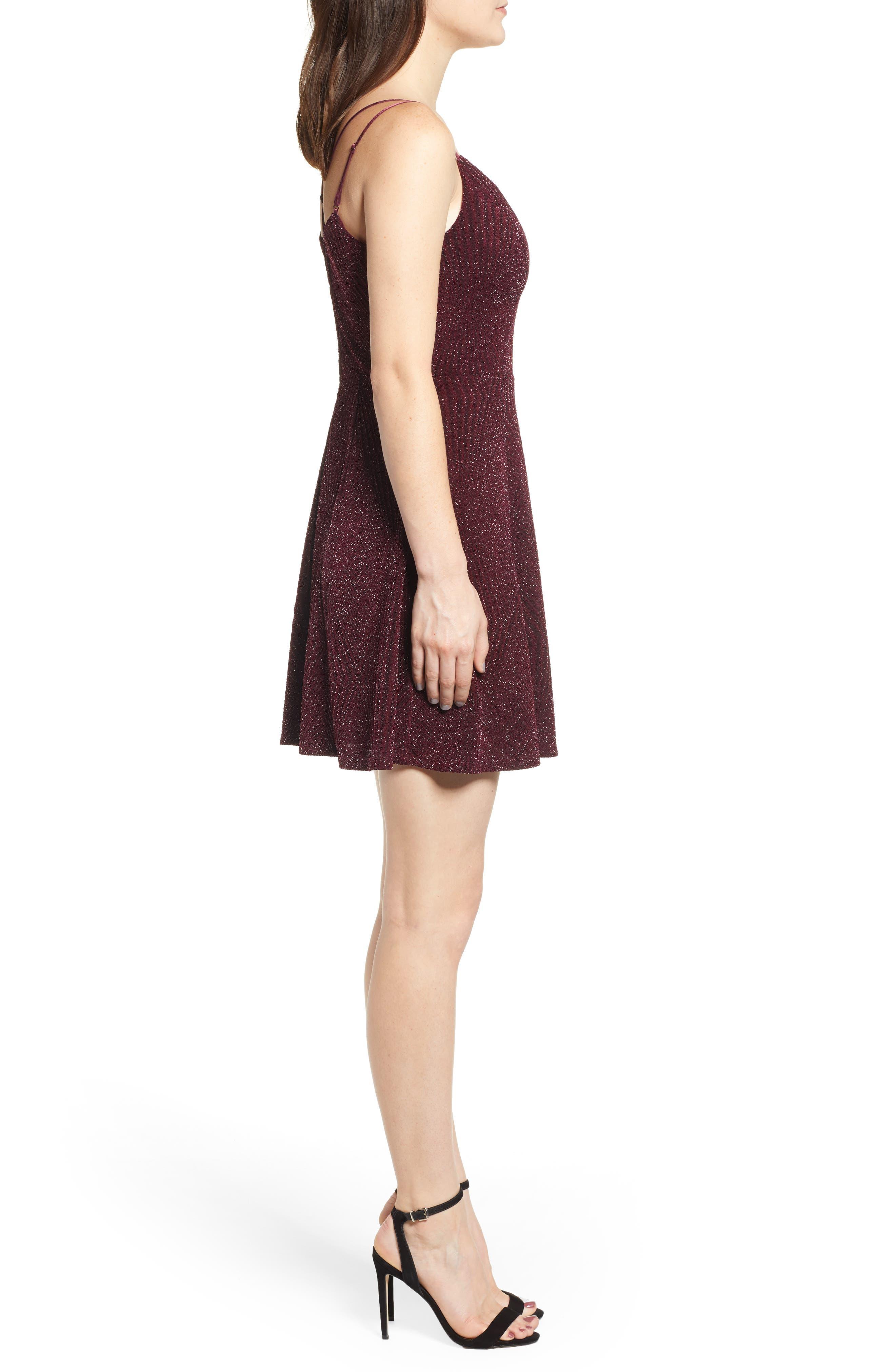 Glitter Knit Strappy Skater Dress,                             Alternate thumbnail 3, color,                             200