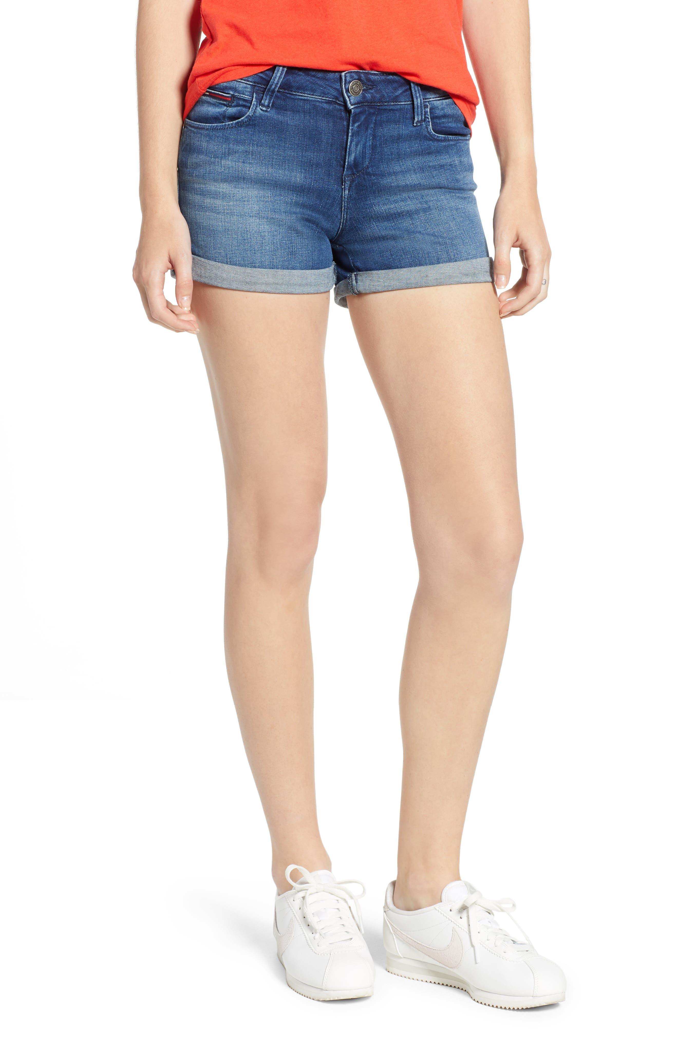 TJW Denim Shorts,                             Main thumbnail 1, color,                             400