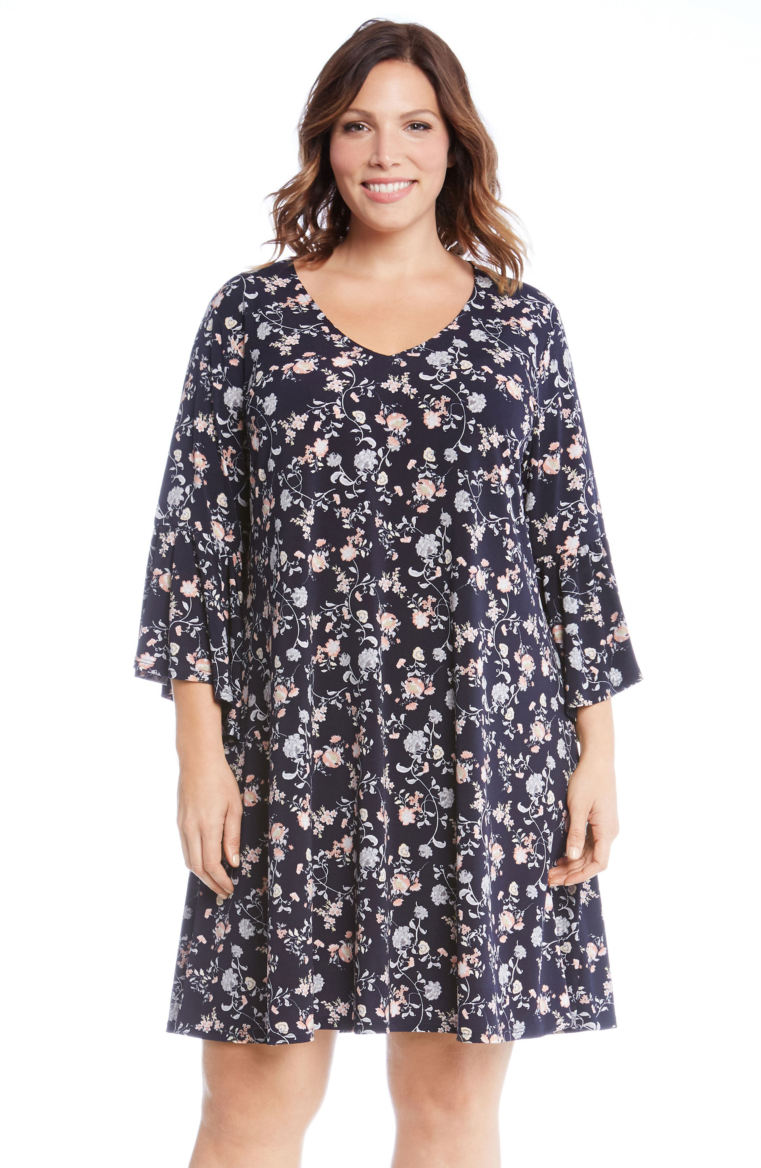 Ruffle Sleeve Floral Shift Dress,                             Alternate thumbnail 3, color,                             460