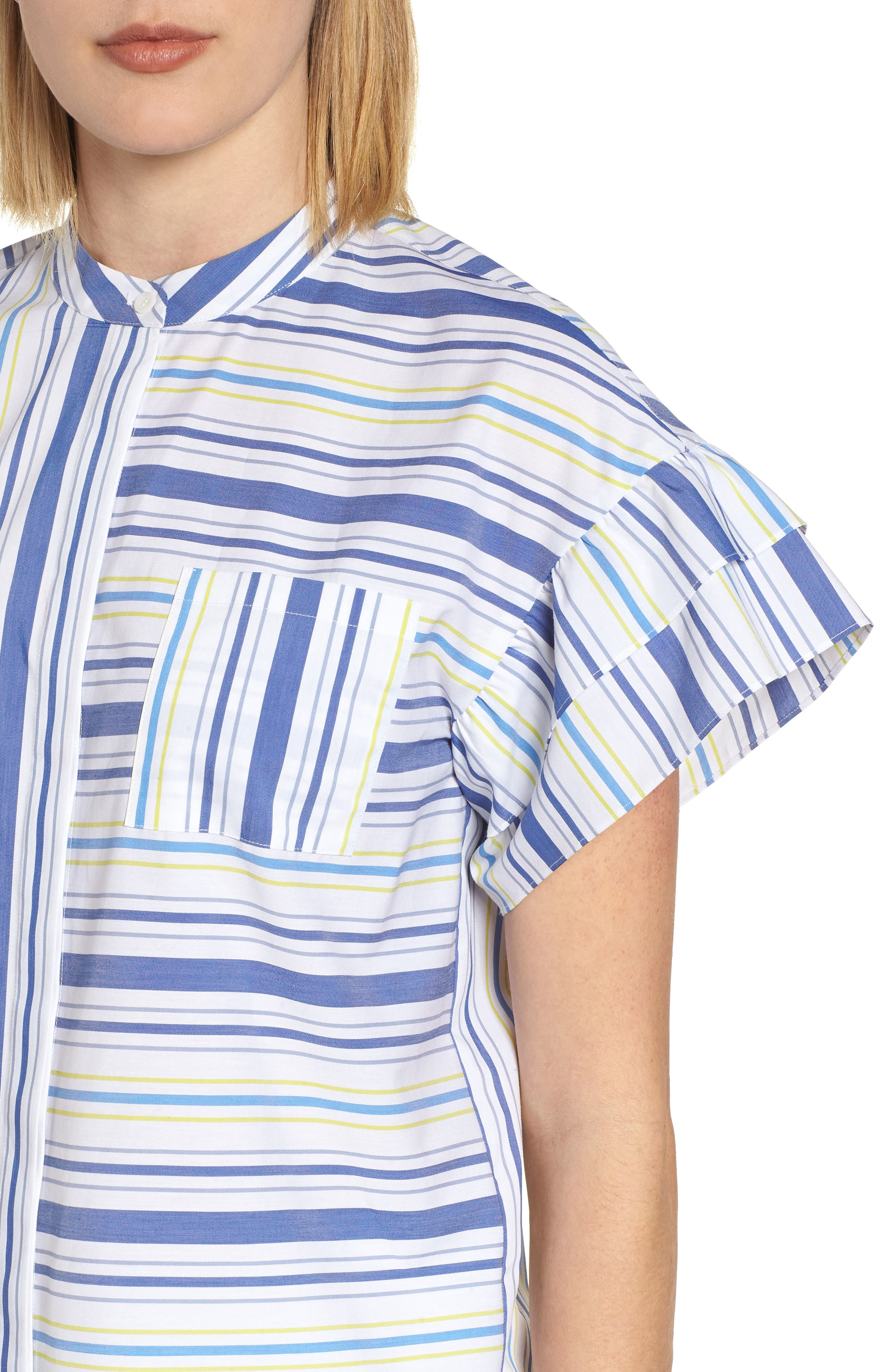 Ruffle Sleeve Stretch Cotton Blend Blouse,                             Alternate thumbnail 16, color,