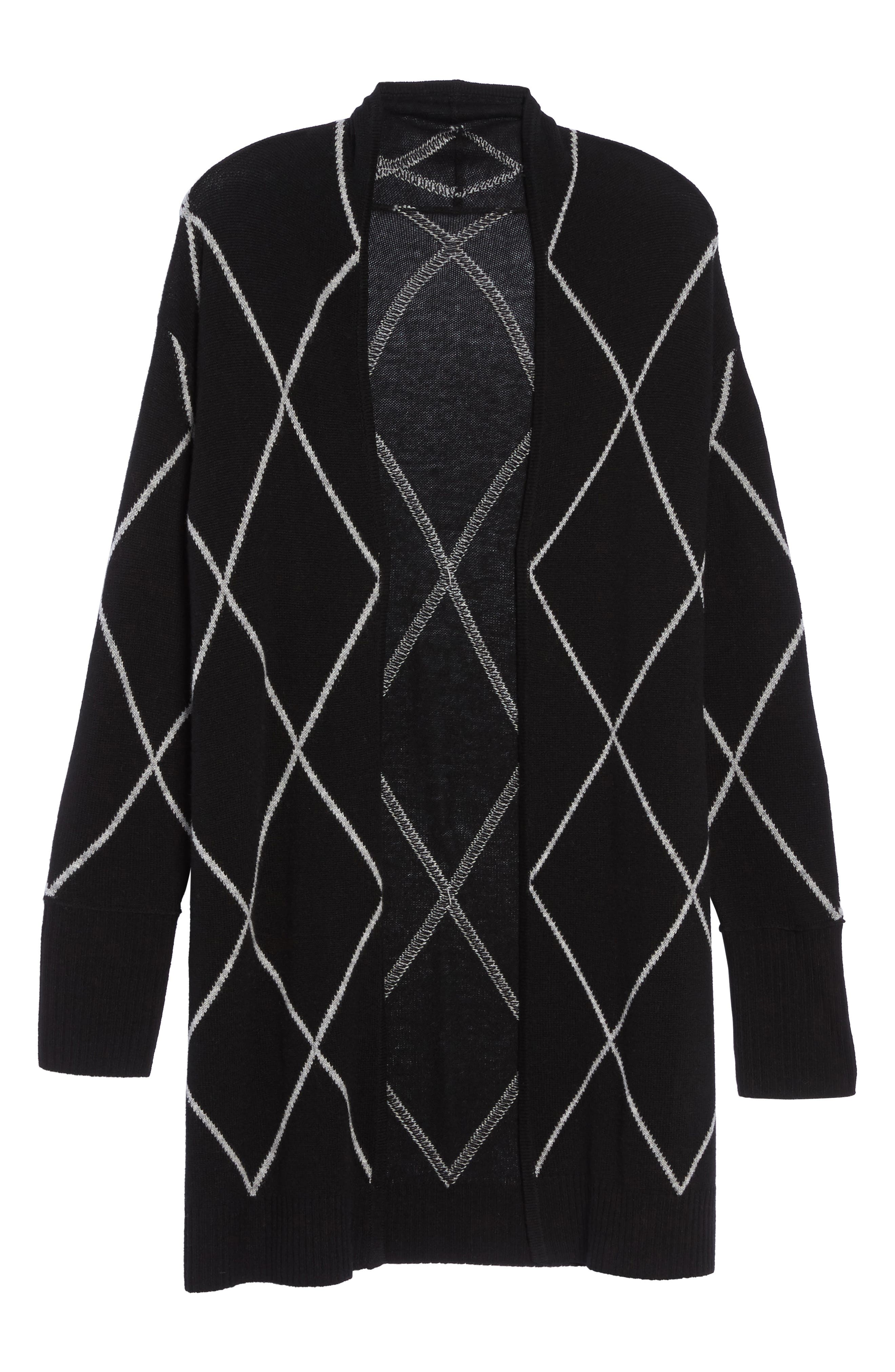 Windowpane Wool & Cashmere Cardigan,                             Alternate thumbnail 6, color,                             002