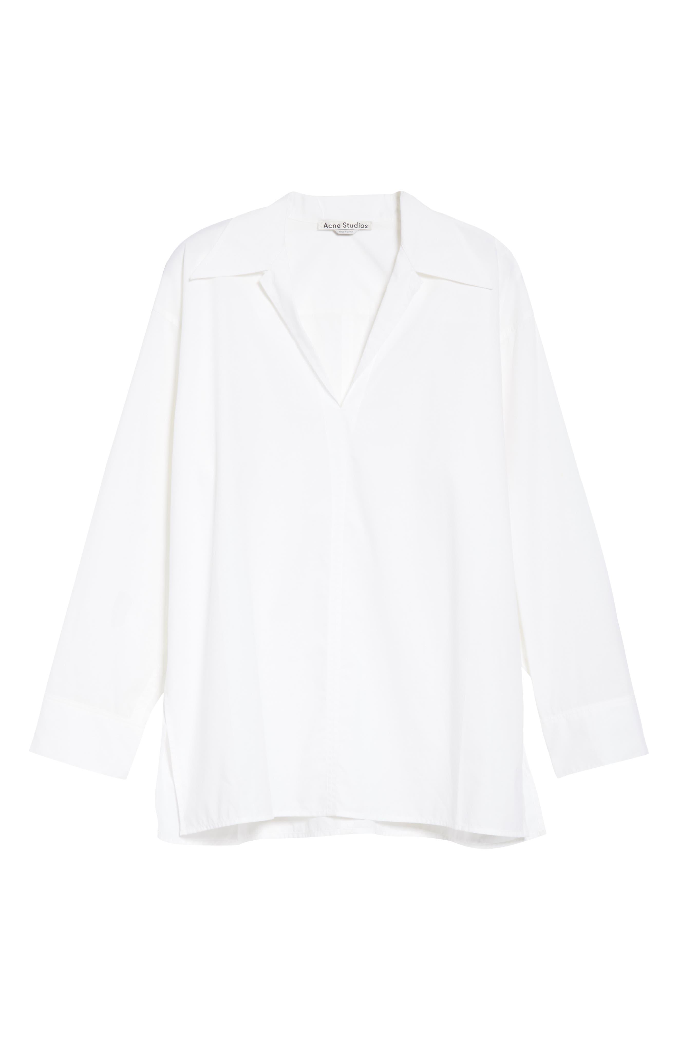 ACNE STUDIOS,                             Spread Collar Shirt,                             Alternate thumbnail 6, color,                             WHITE