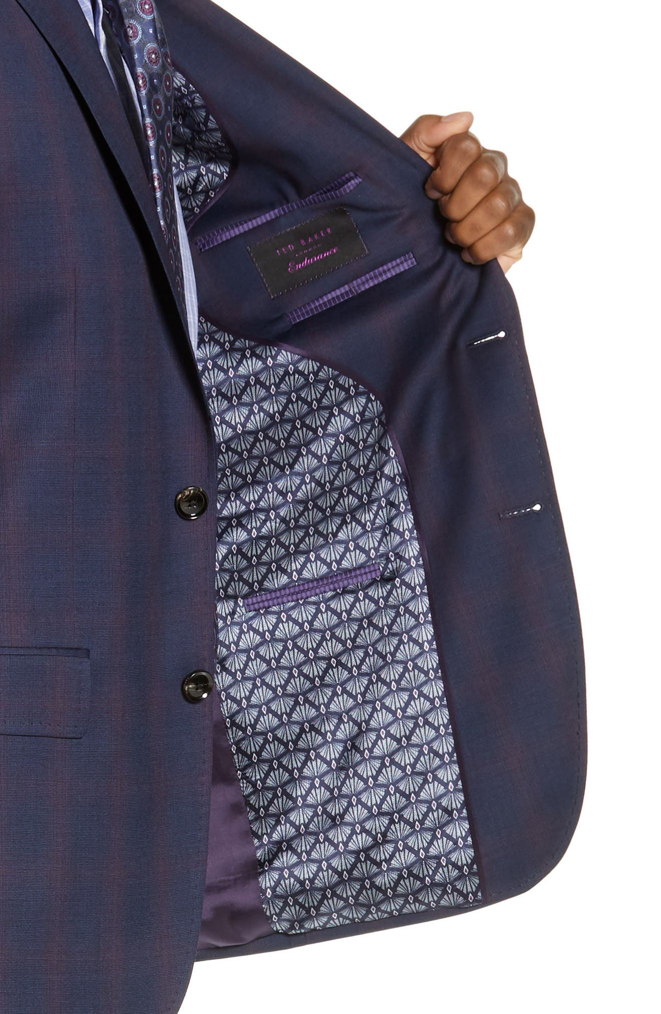 TED BAKER LONDON,                             Roger Slim Fit Plaid Wool Suit,                             Alternate thumbnail 4, color,                             NAVY