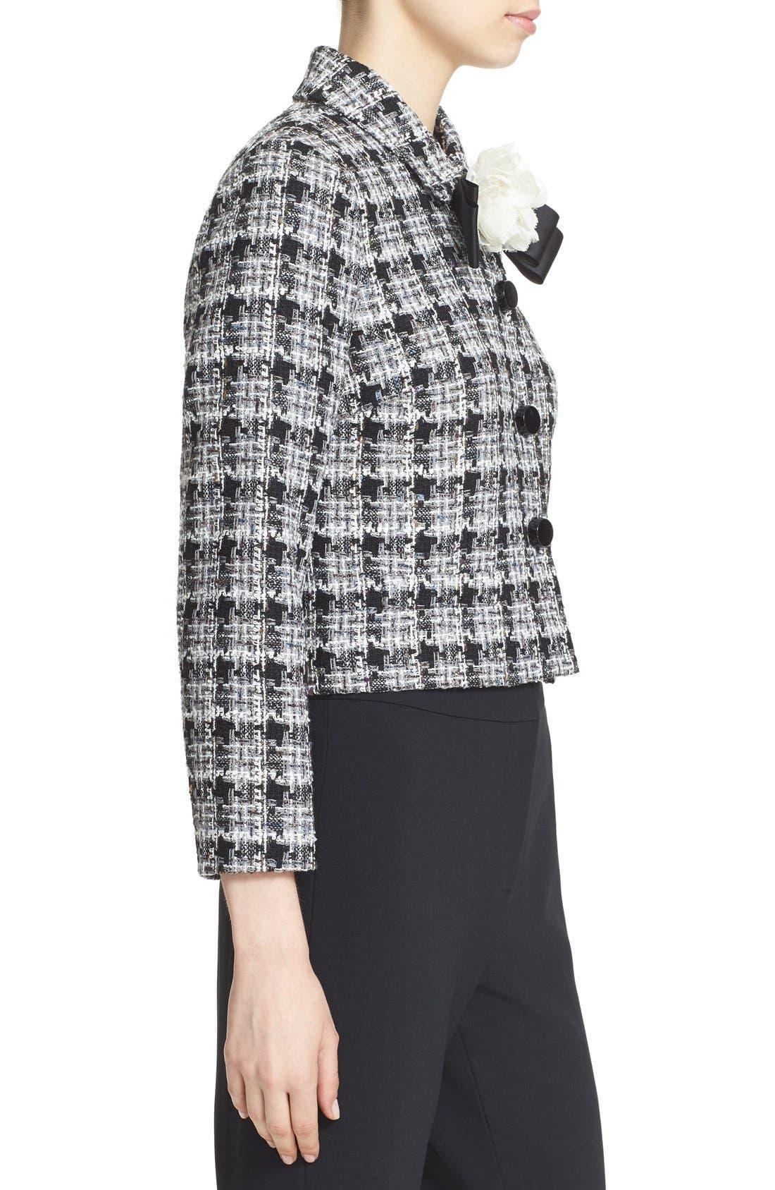 rosette bow tweed jacket,                             Alternate thumbnail 2, color,                             018